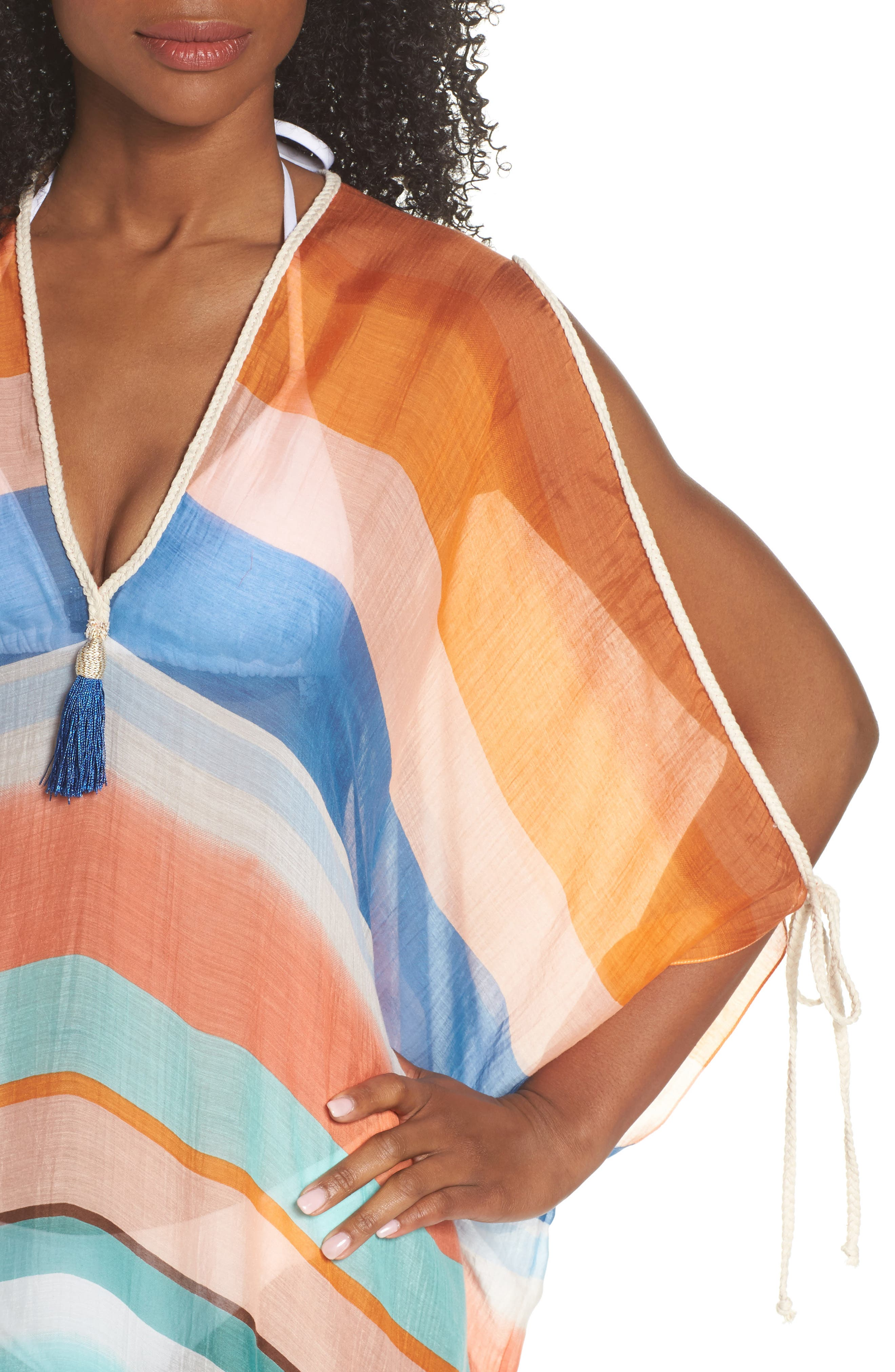 Stripe Cover-Up Caftan,                             Alternate thumbnail 4, color,                             801
