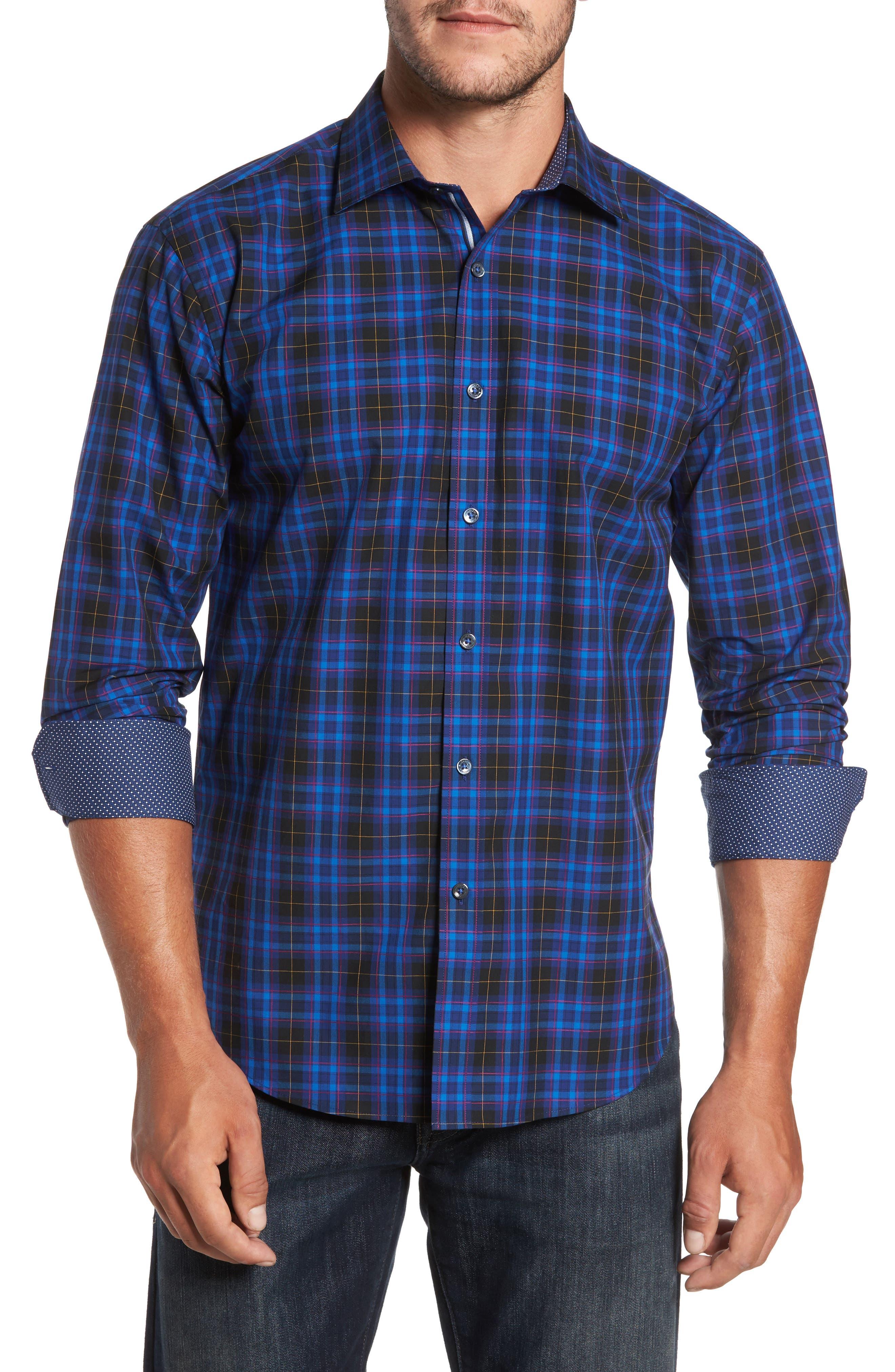 Shaped Fit Plaid Sport Shirt,                         Main,                         color, 411