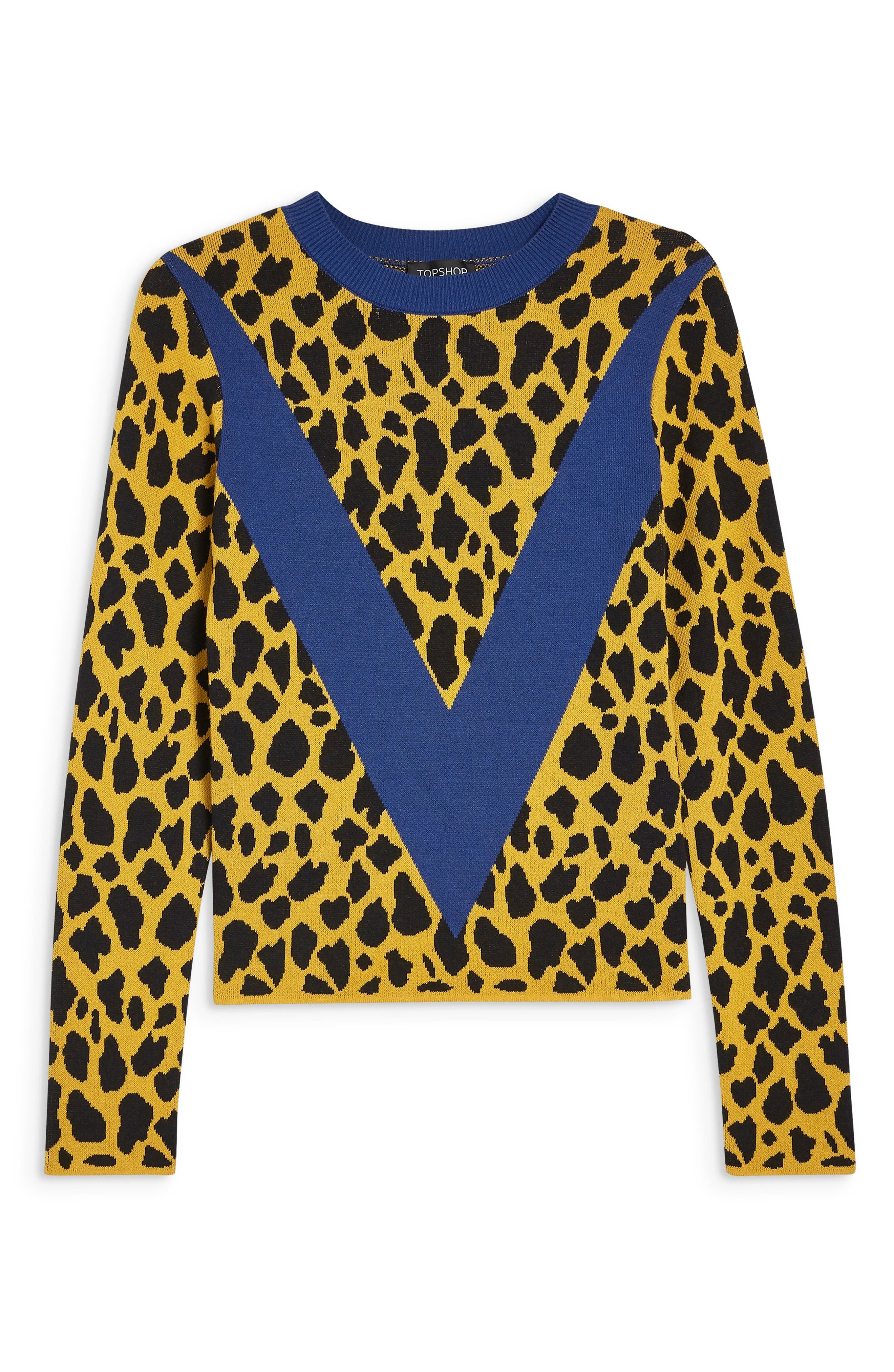 Leopard Chevron Sweater,                             Alternate thumbnail 5, color,                             MUSTARD MULTI