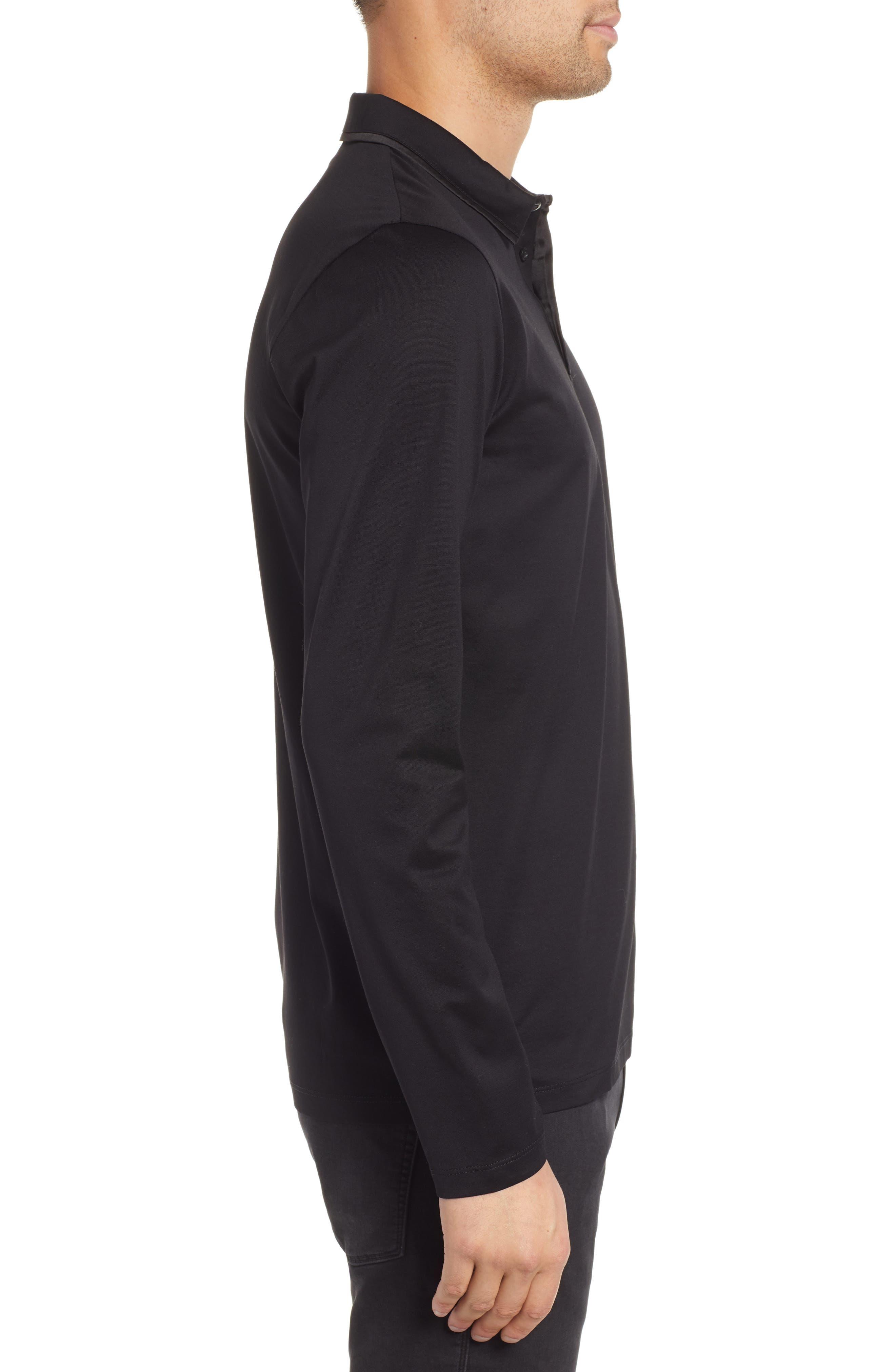 Dalendar Mercerized Cotton Slim Fit Polo Shirt,                             Alternate thumbnail 3, color,                             BLACK