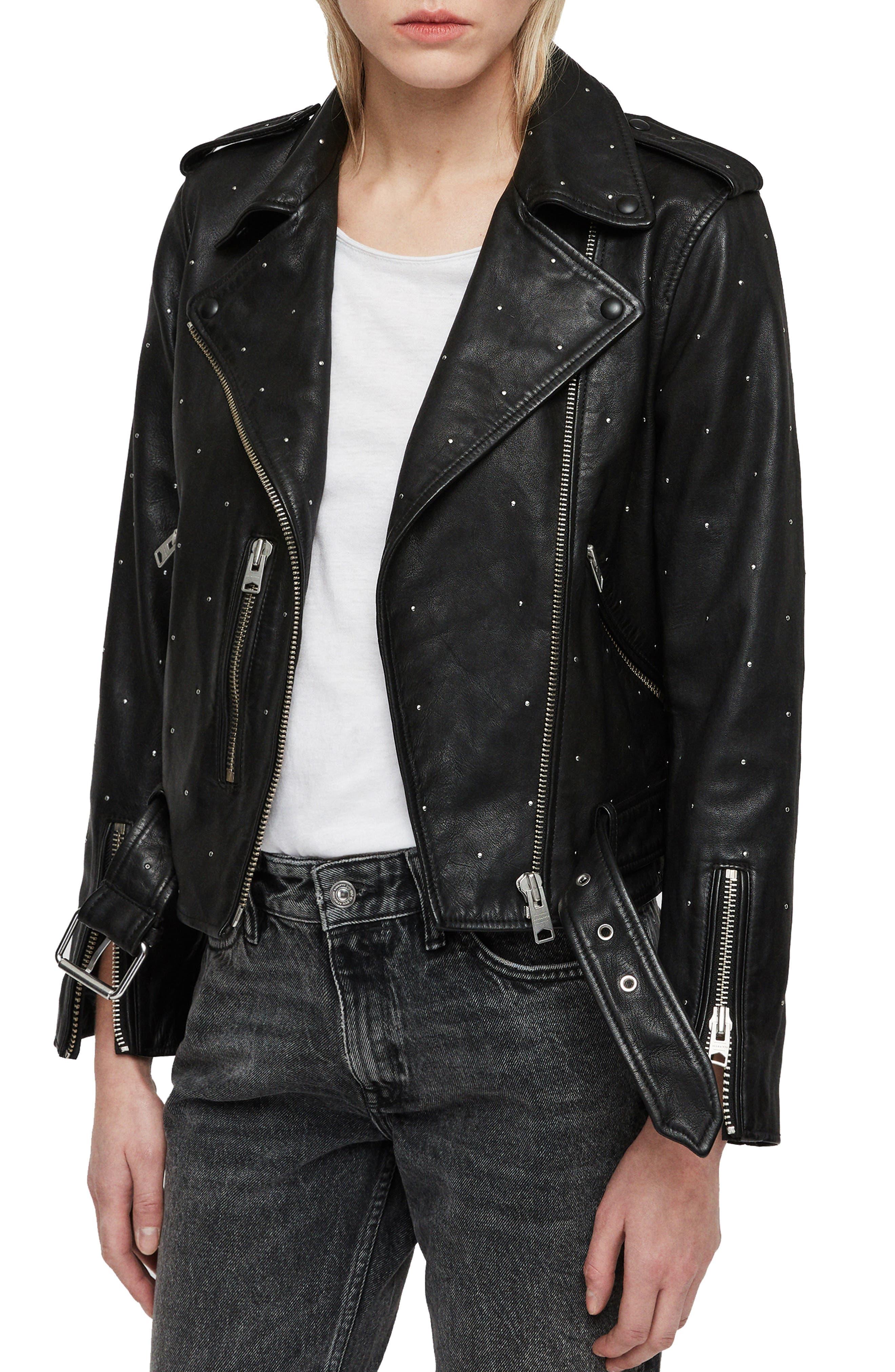 Balfern Studded Leather Biker Jacket,                             Alternate thumbnail 3, color,                             BLACK