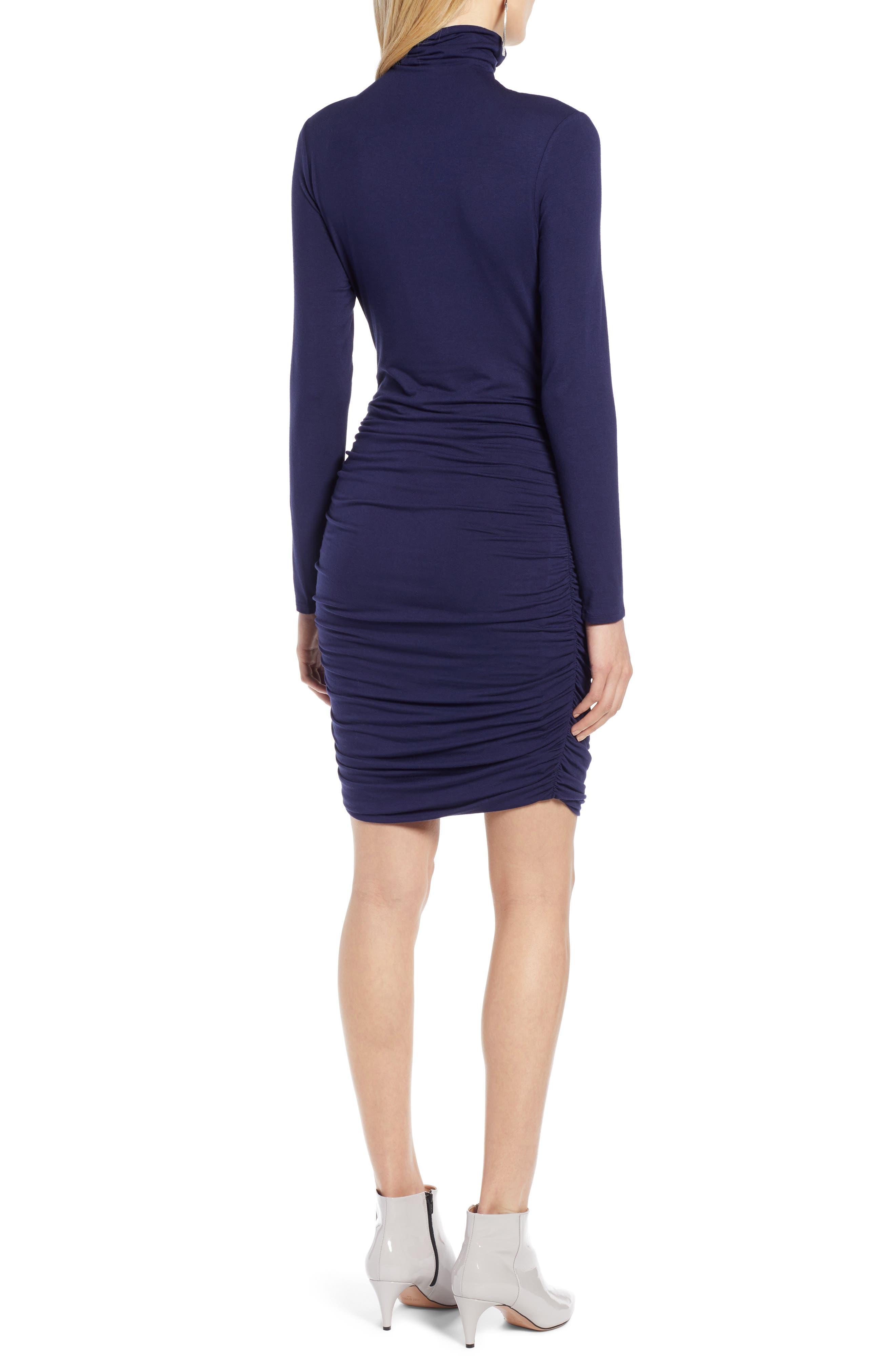 Side Ruched Turtleneck Dress,                             Alternate thumbnail 2, color,                             NAVY PEACOAT