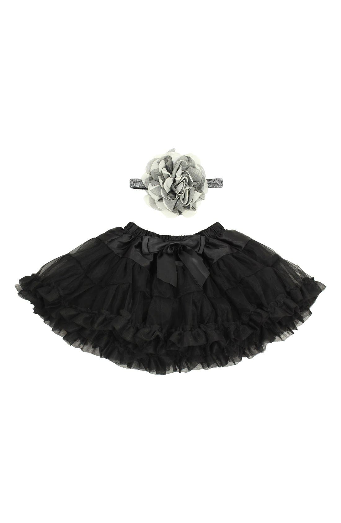 Tutu & Floral Appliqué Head Wrap Set,                         Main,                         color, BLACK