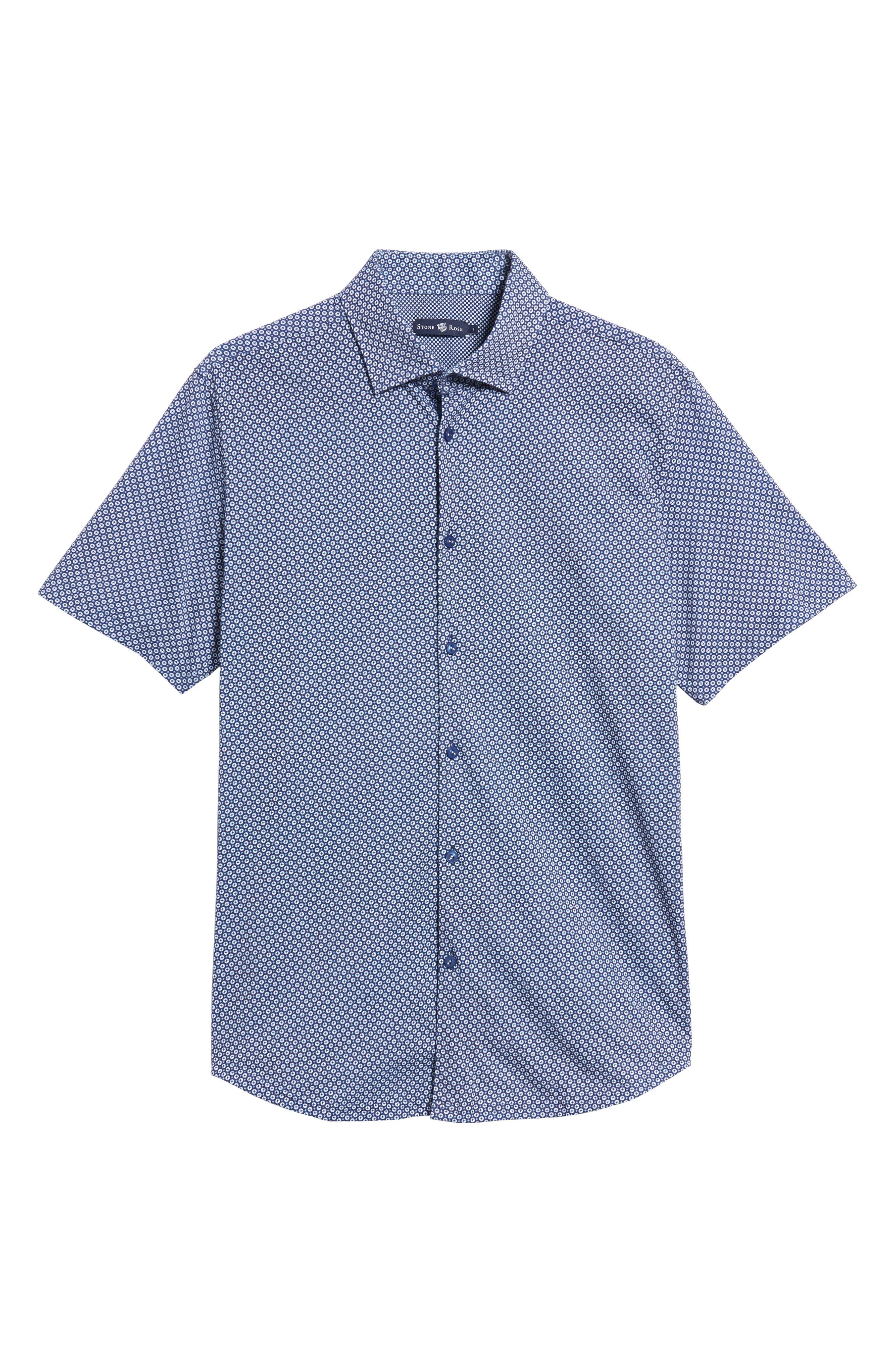 Slim Fit Geo Print Knit Sport Shirt,                             Alternate thumbnail 6, color,