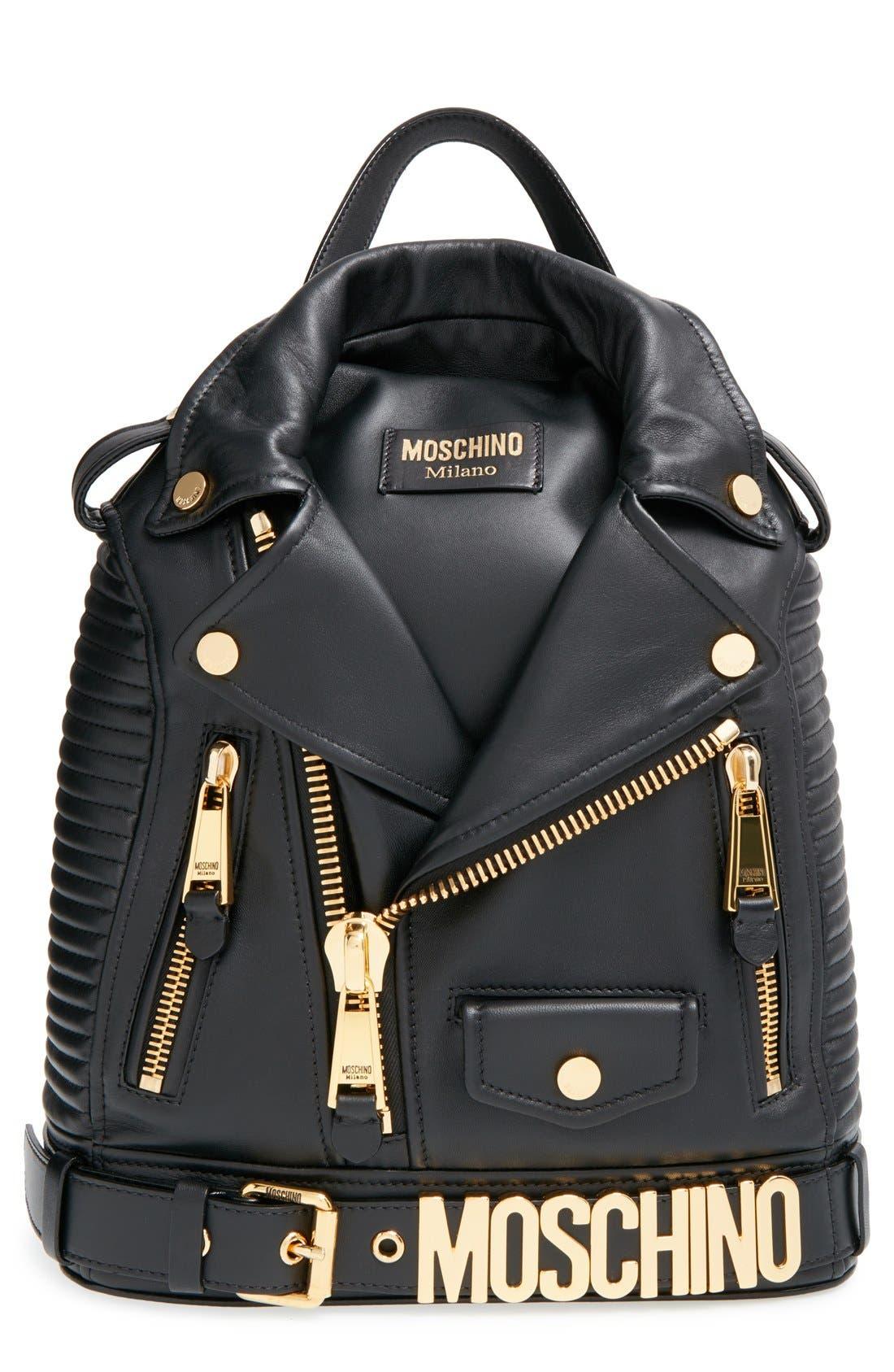 'Biker Jacket' Backpack, Main, color, 001