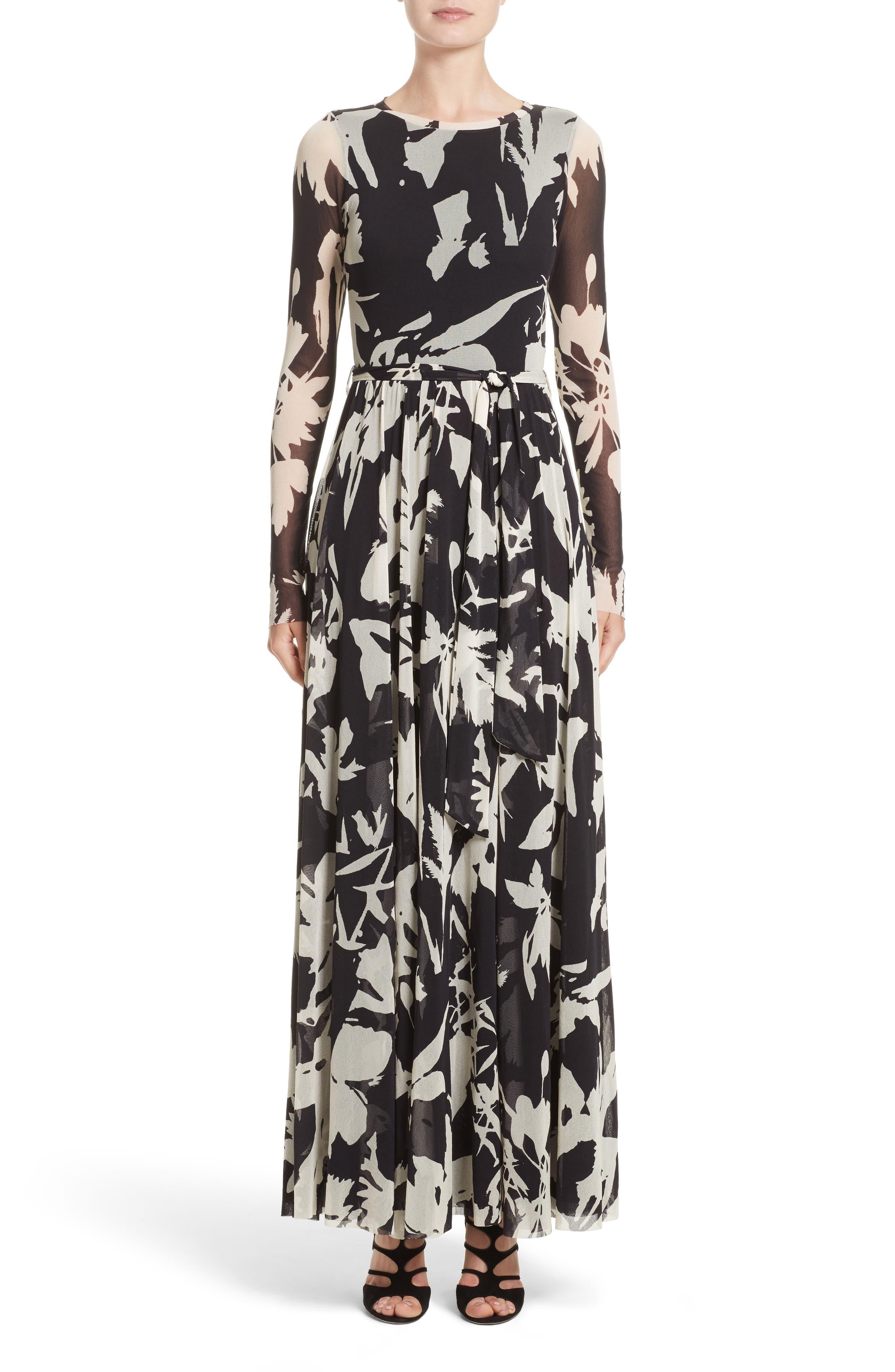 Bicolor Floral Print Tulle Maxi Dress,                             Main thumbnail 1, color,                             001