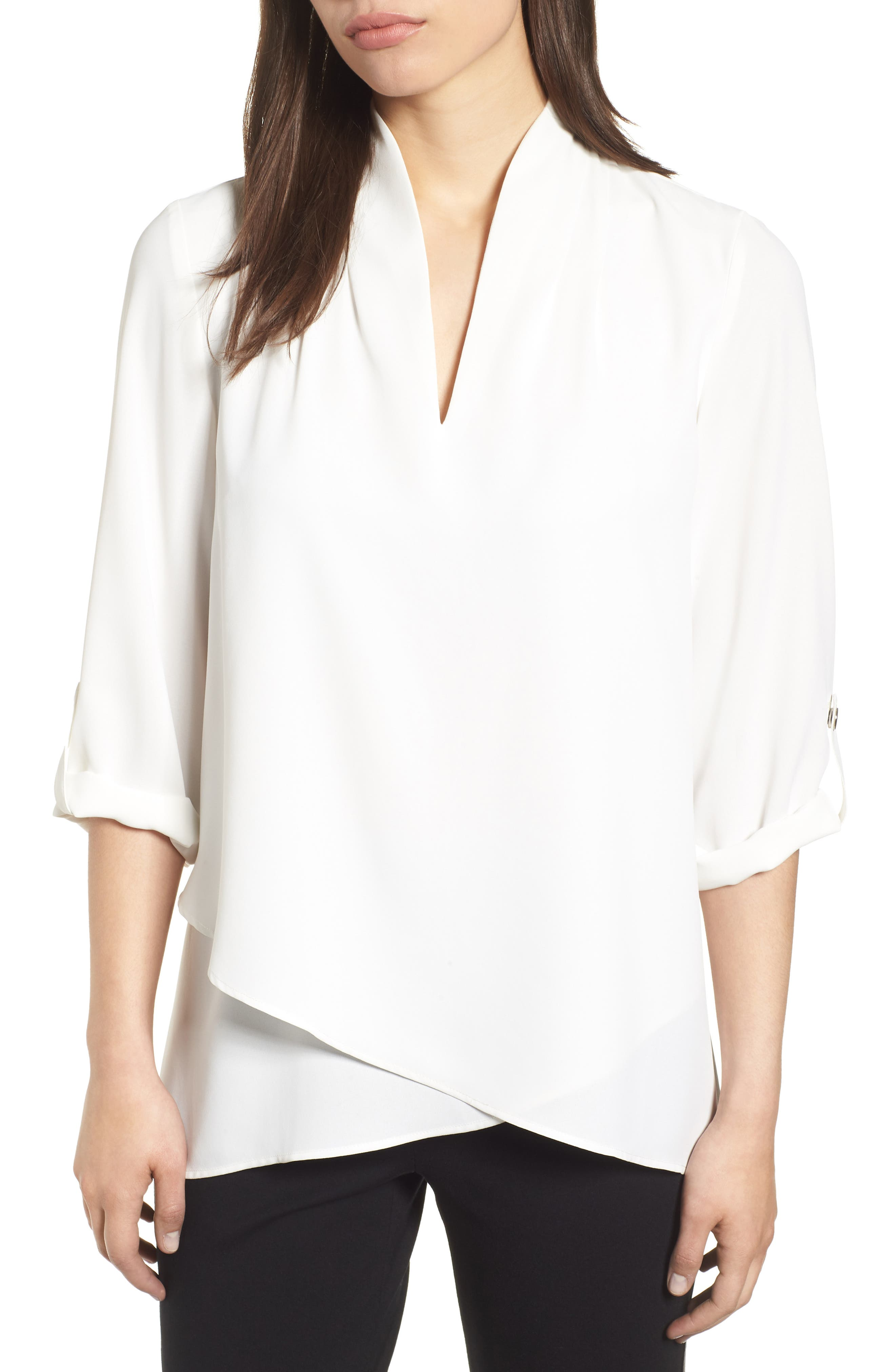 Crossover Front Blouse,                         Main,                         color, WHITE
