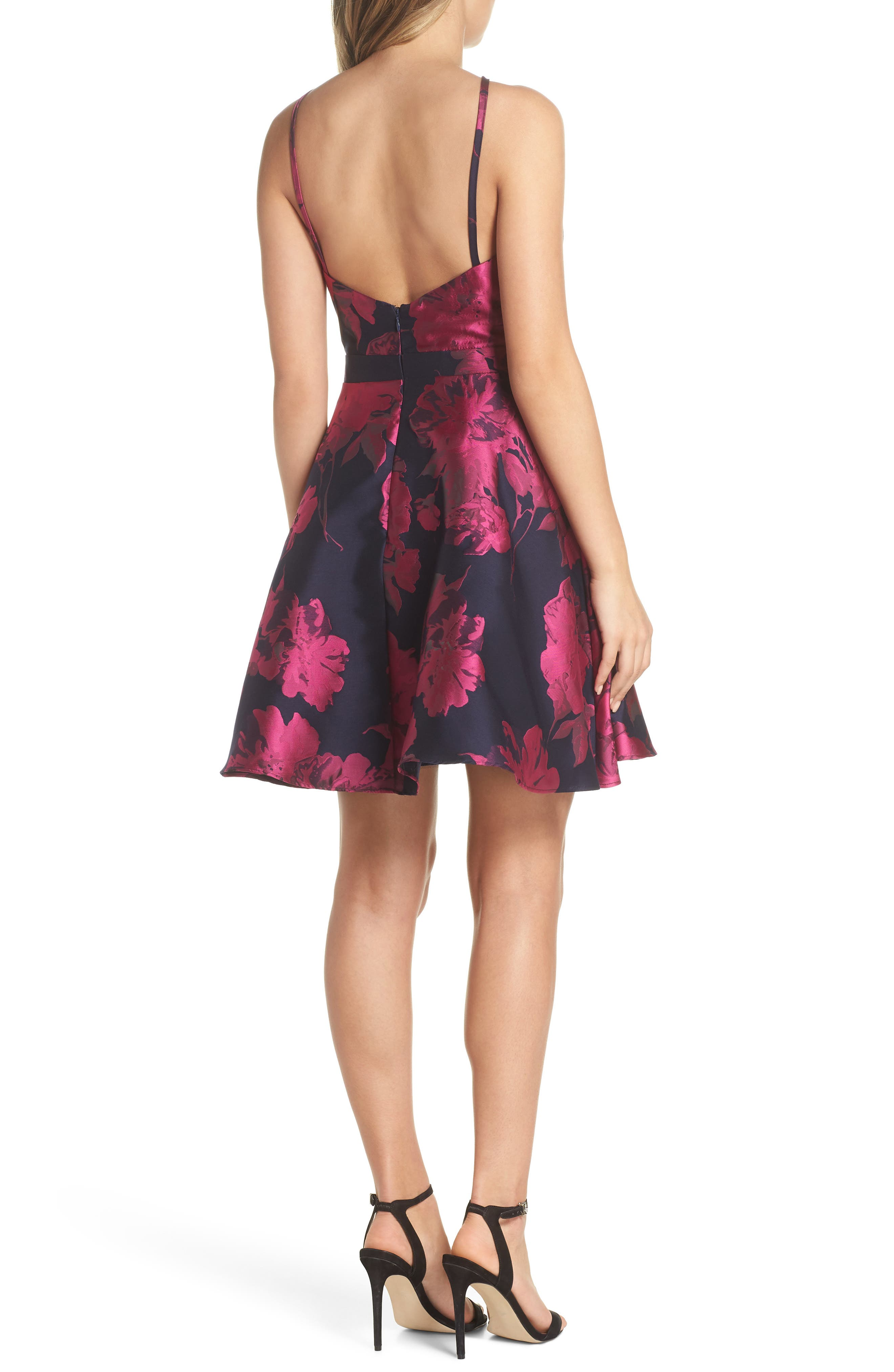 Floral Brocade Fit & Flare Dress,                             Alternate thumbnail 2, color,                             NAVY/ FUCHSIA
