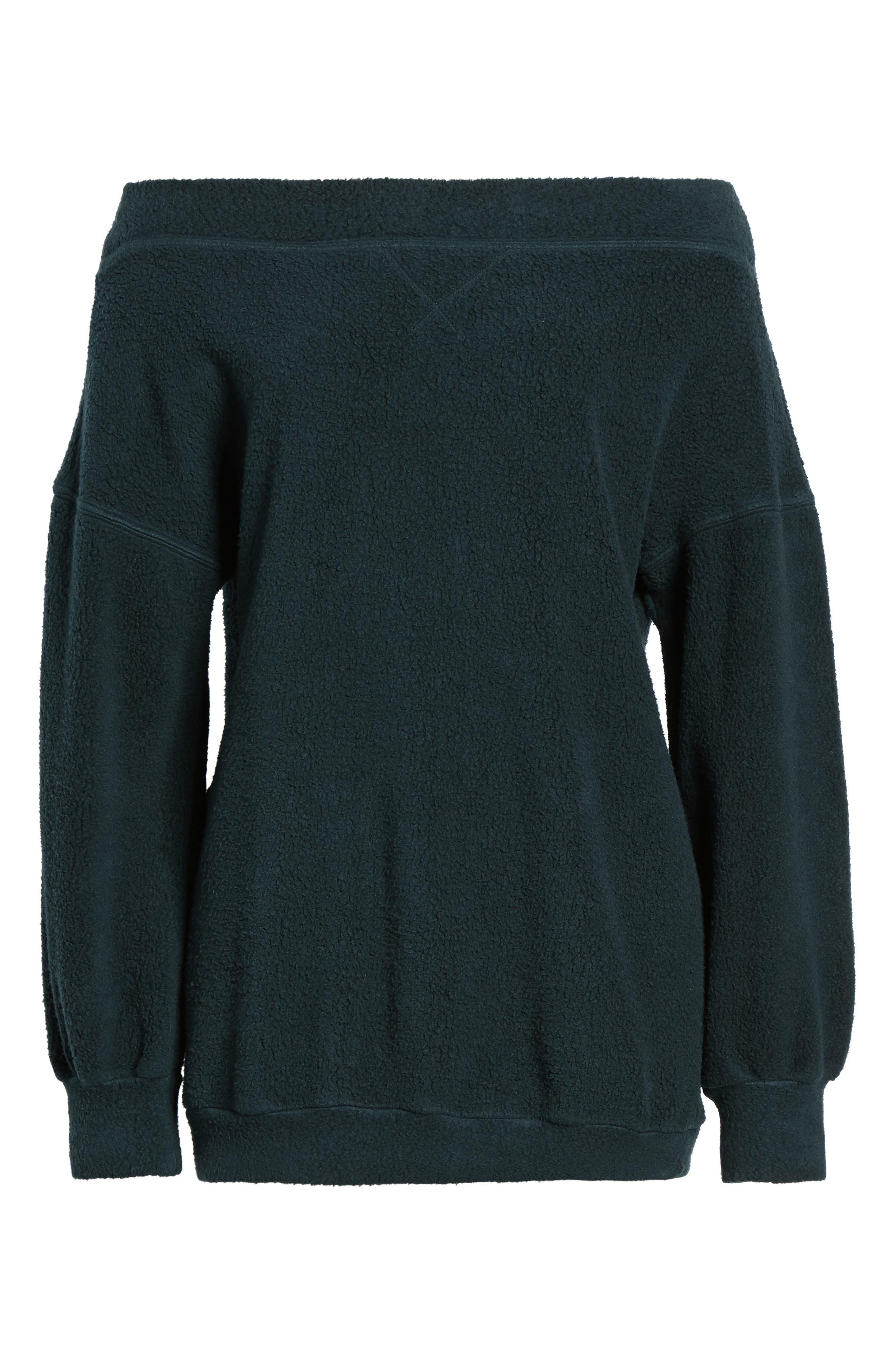 Off the Shoulder Fleece Sweatshirt,                             Alternate thumbnail 6, color,                             300