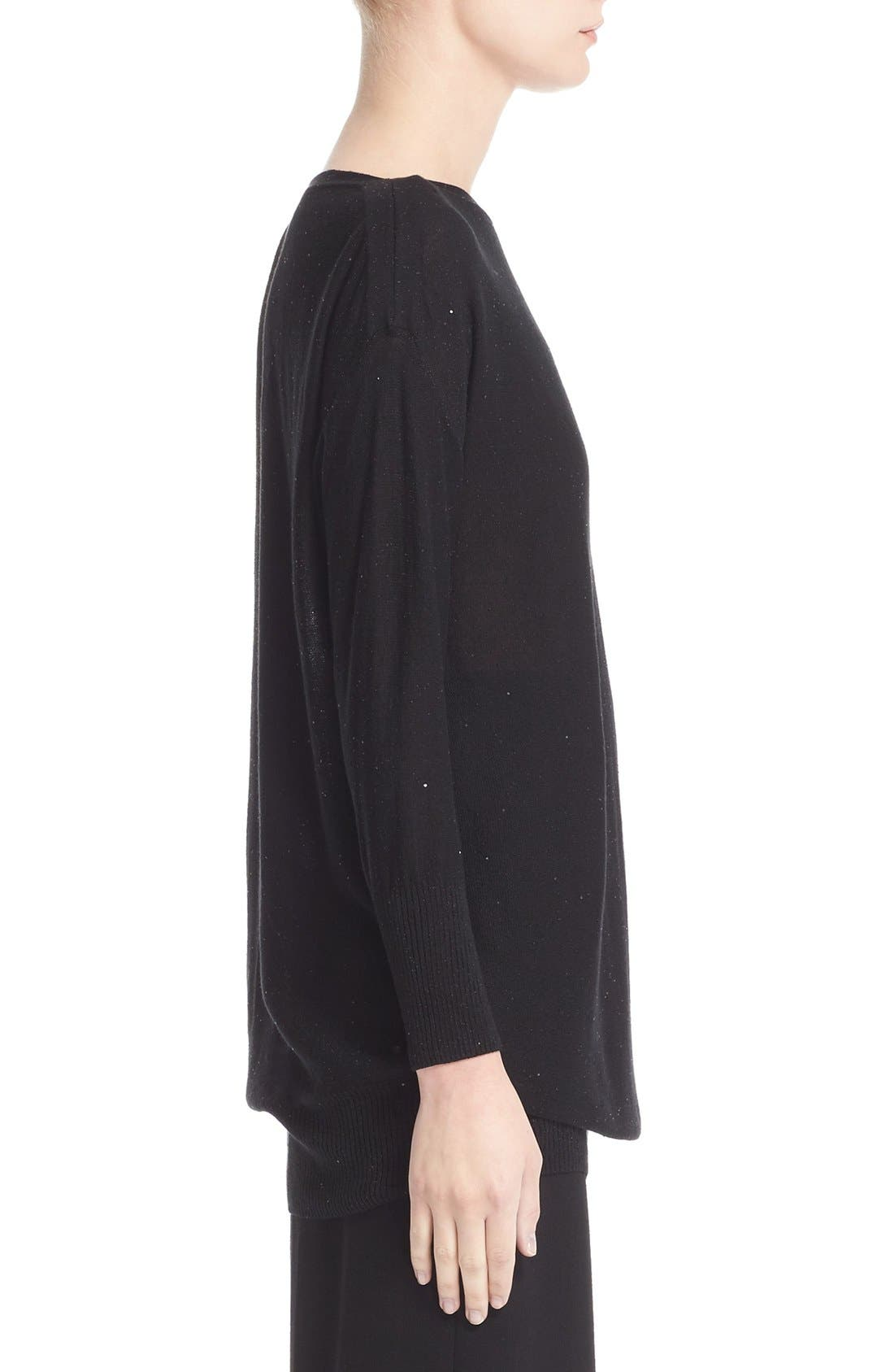 Sequin Knit Silk Blend Sweater,                             Alternate thumbnail 7, color,                             BLACK