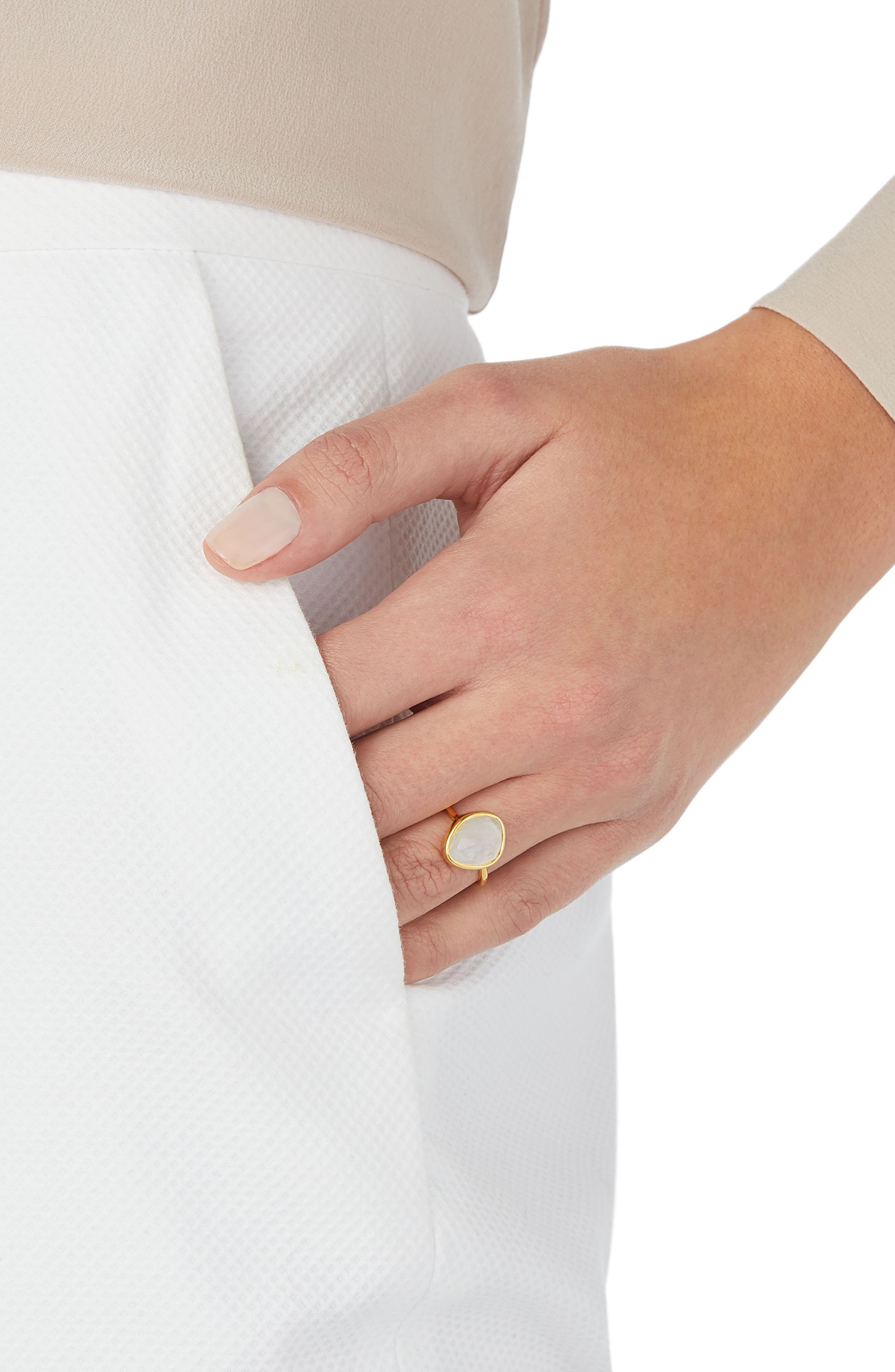 Siren Small Nugget Stacking Ring,                             Alternate thumbnail 2, color,                             YELLOW GOLD/ MOONSTONE