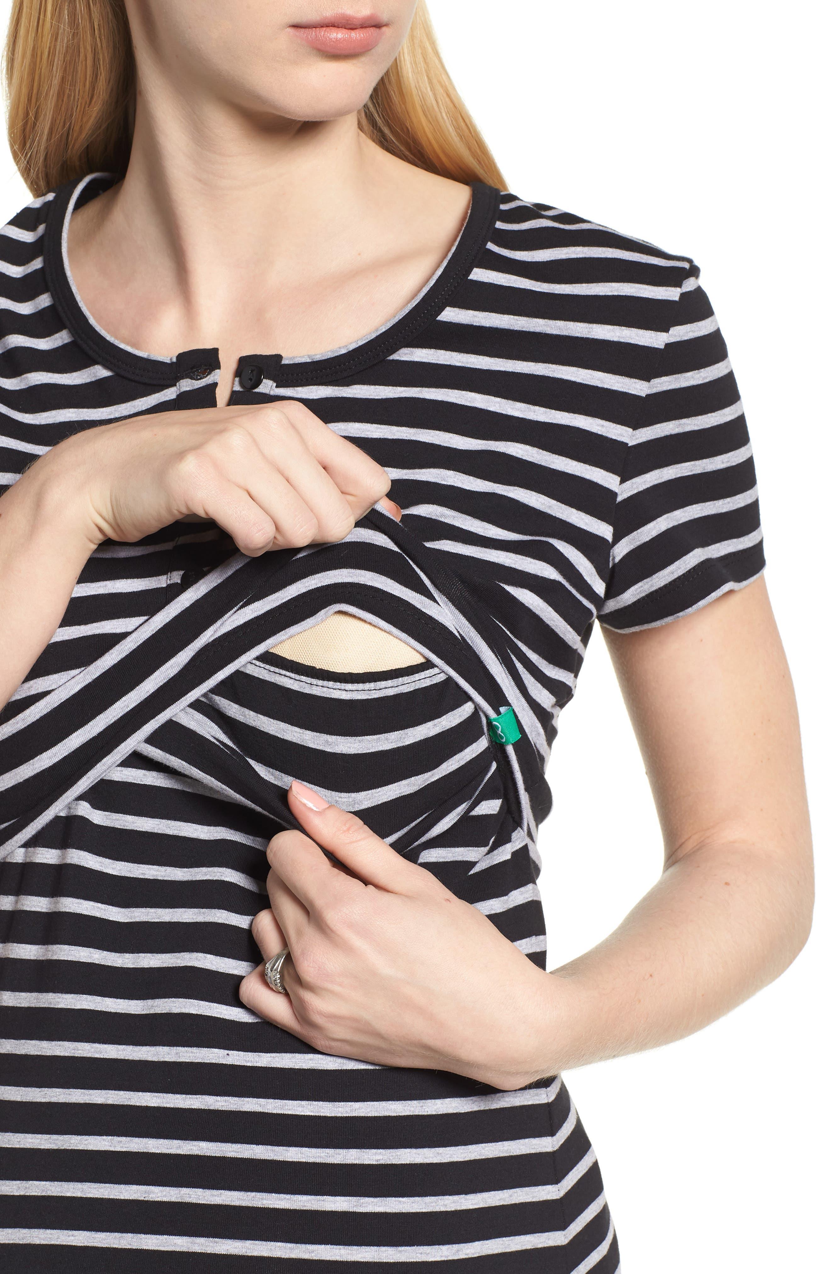 Maternity/Nursing Henley T-Shirt Dress,                             Alternate thumbnail 4, color,                             BLACK/ GREY
