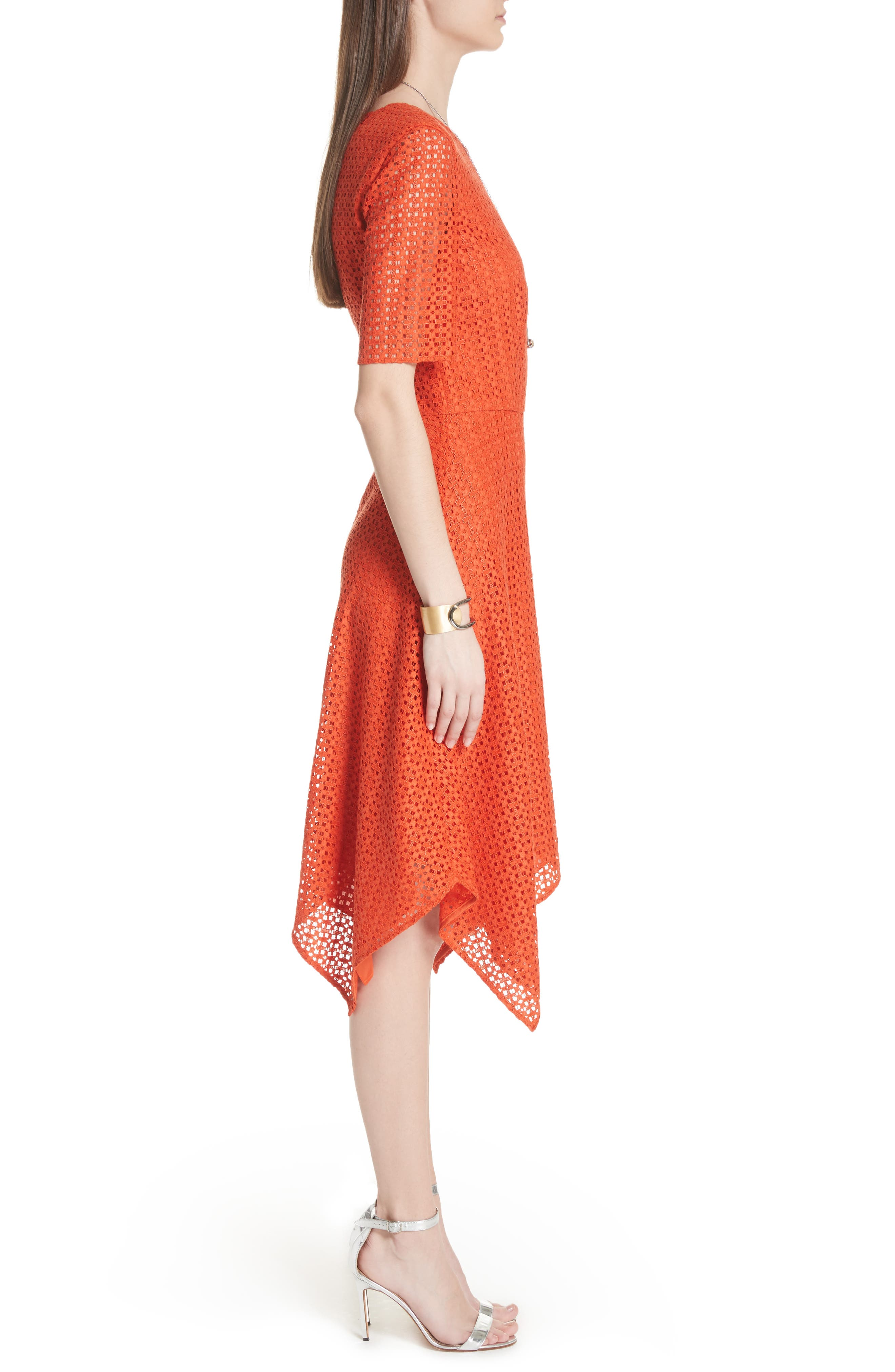 Geo Coated Lace Dress,                             Alternate thumbnail 3, color,                             SIENNA