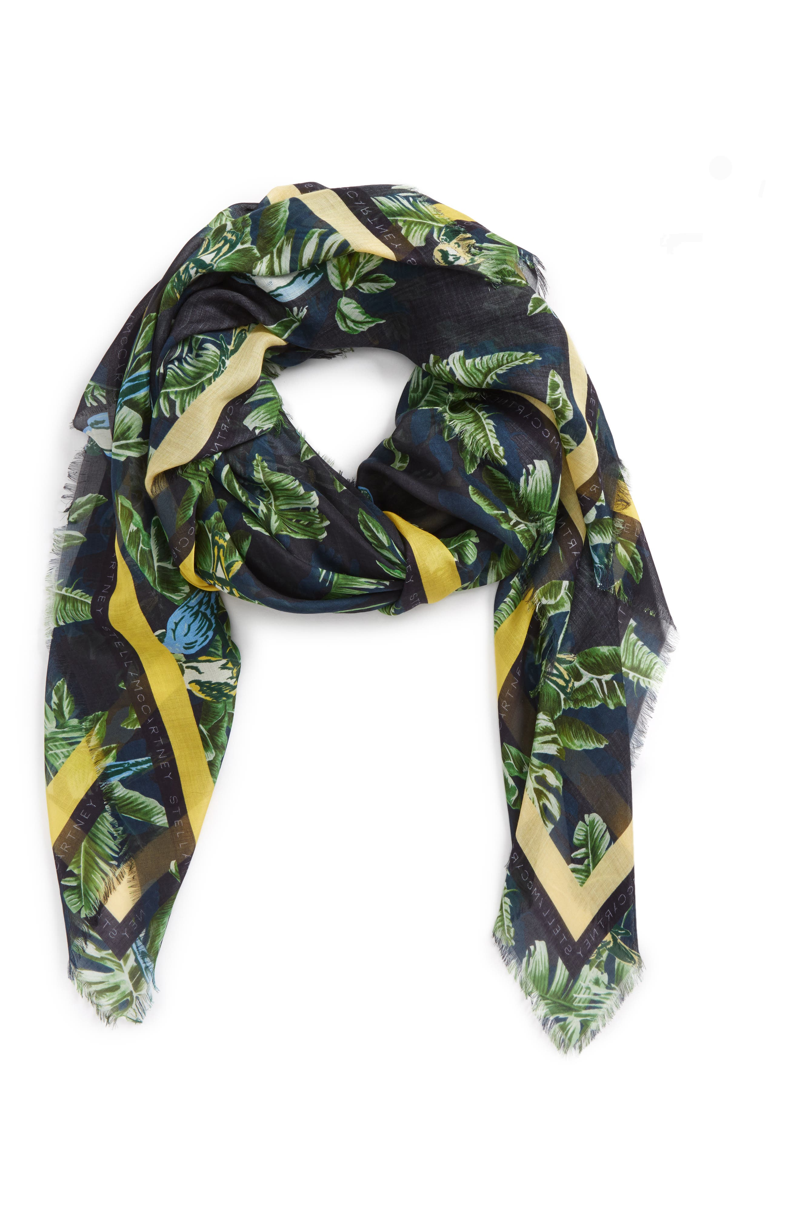 Bird Of Paradise Silk & Modal Scarf,                             Alternate thumbnail 3, color,                             MULTICOLOR