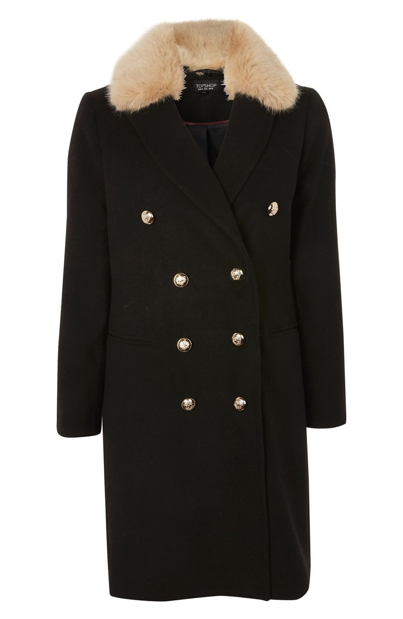 Nina Faux Fur Collar Double Breasted Coat,                             Alternate thumbnail 3, color,                             001