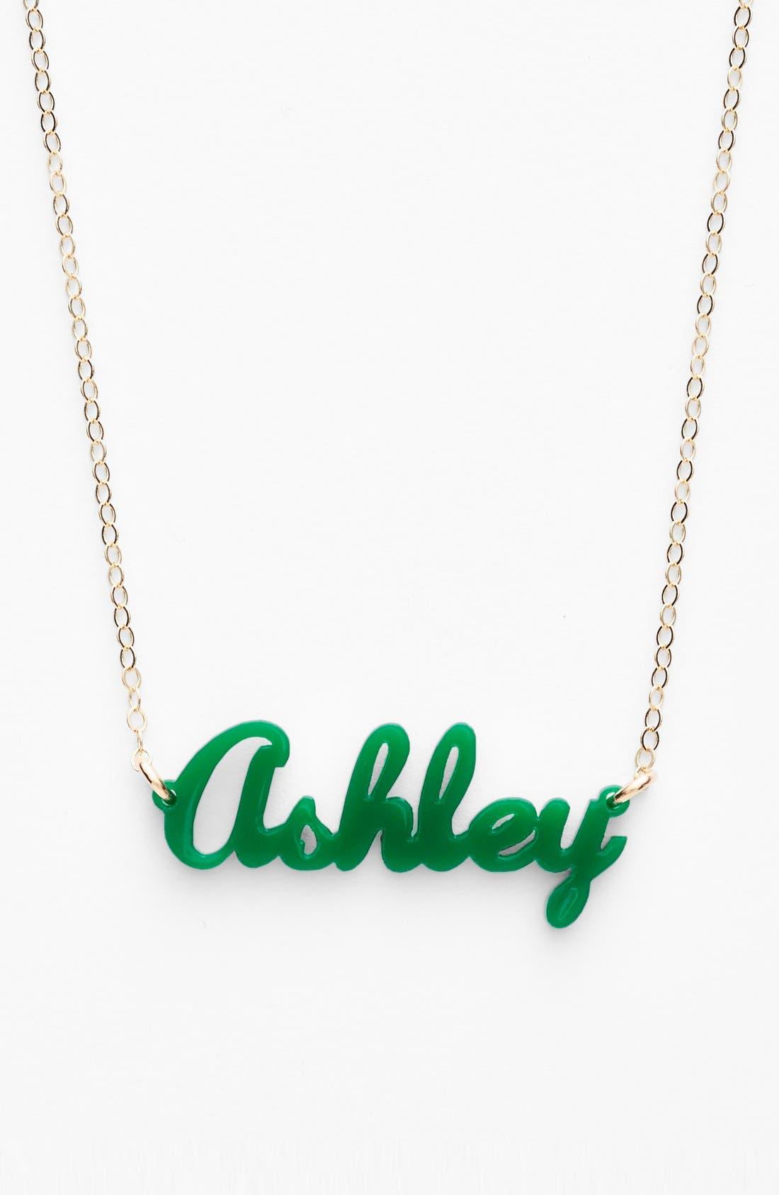 'Script Font' Personalized Nameplate Pendant Necklace,                             Main thumbnail 1, color,                             EMERALD/ GOLD