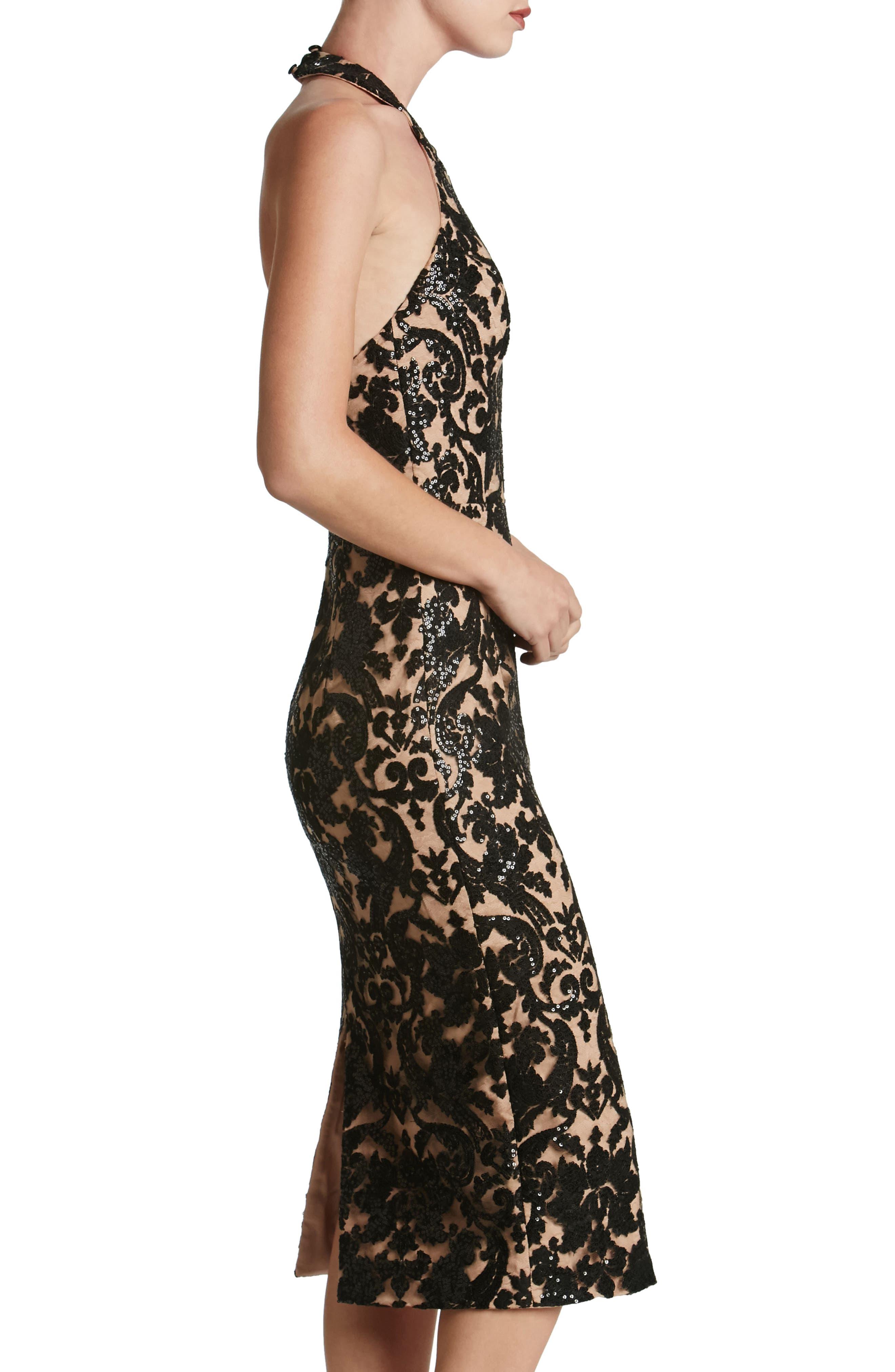 Cassie Sequin Midi Dress,                             Alternate thumbnail 3, color,                             002