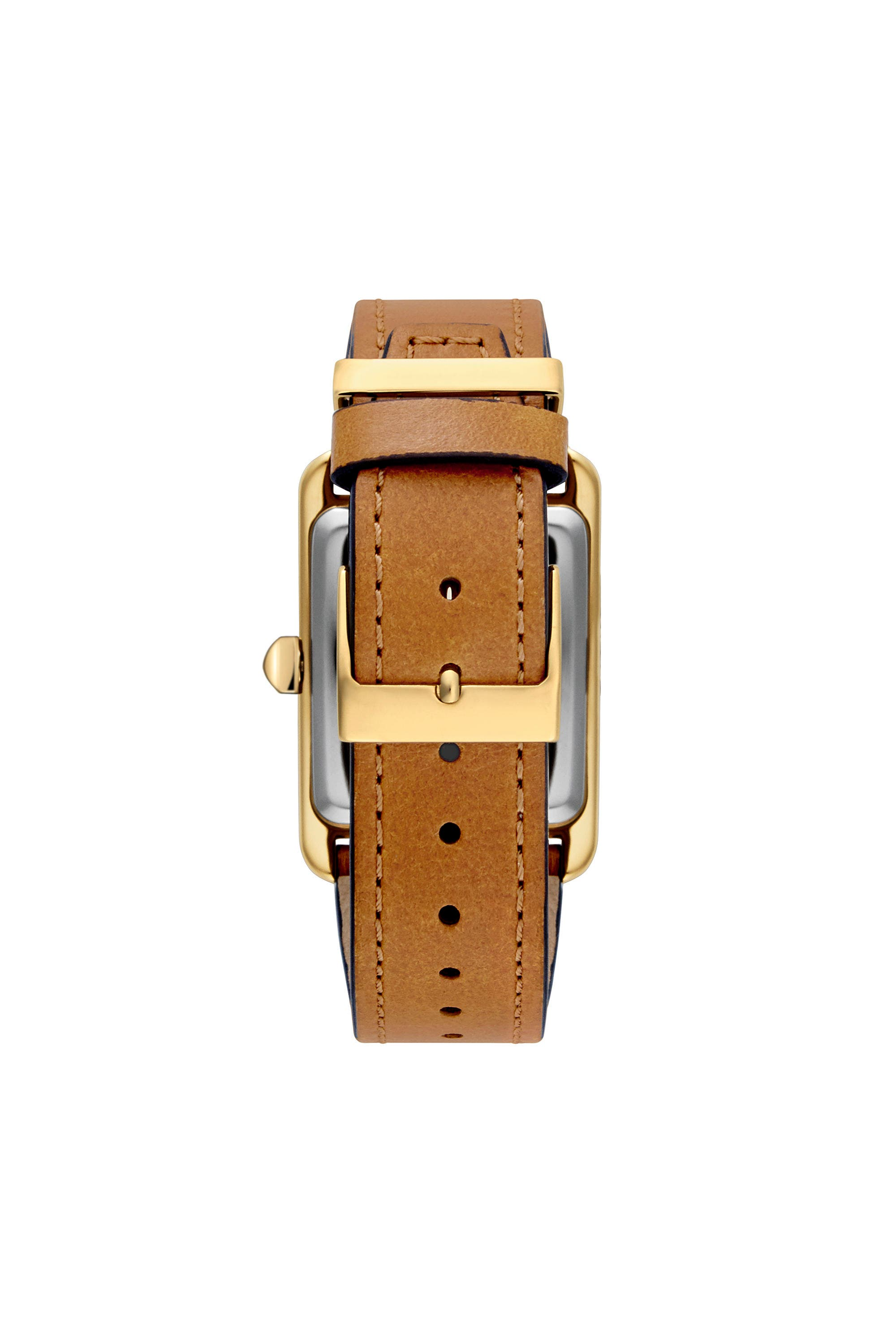 Moment Leather Strap Watch, 27mm x 39mm,                             Alternate thumbnail 3, color,                             ALMOND/ BLACK/ GOLD