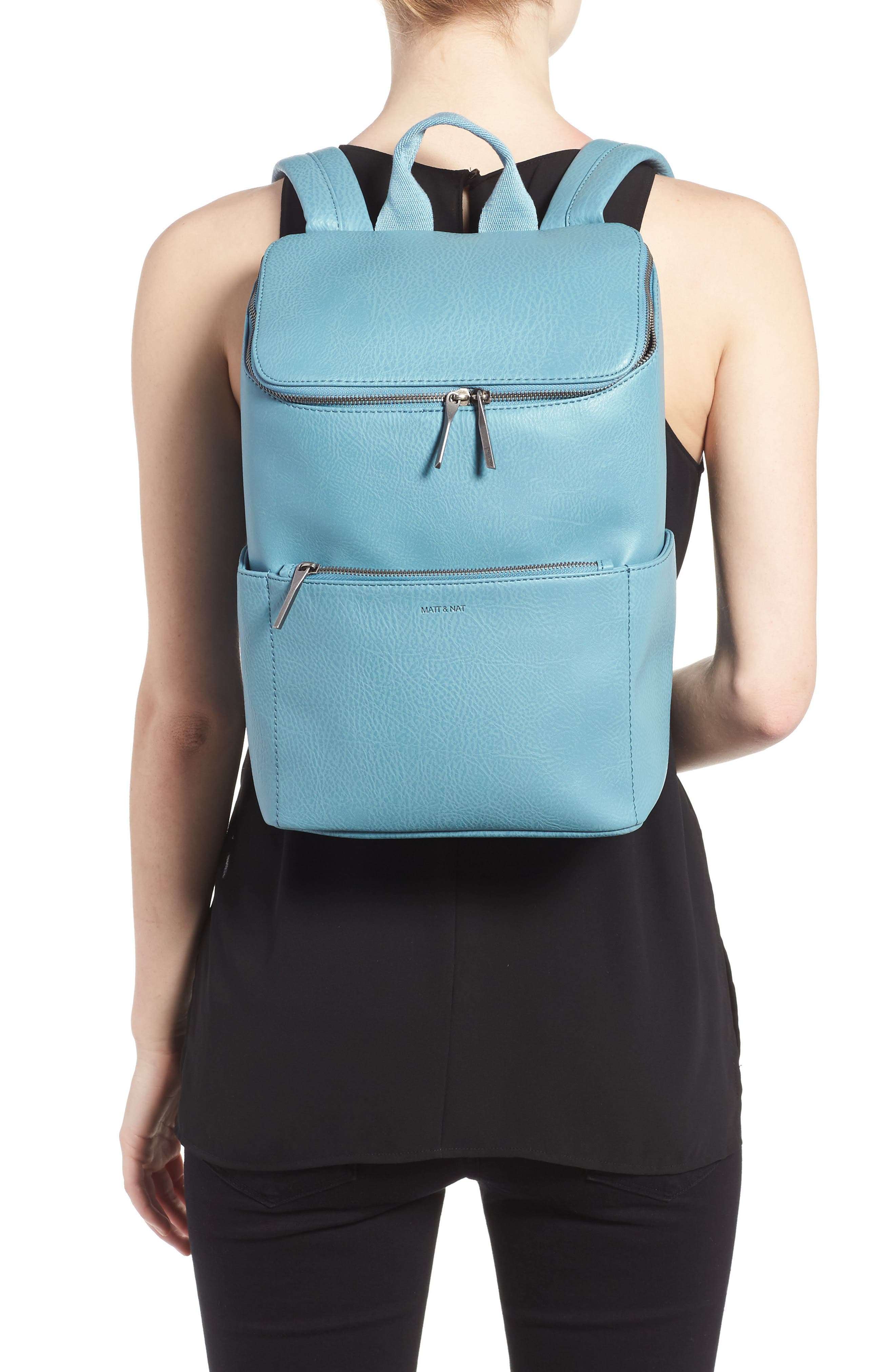 'Brave' Faux Leather Backpack,                             Alternate thumbnail 32, color,