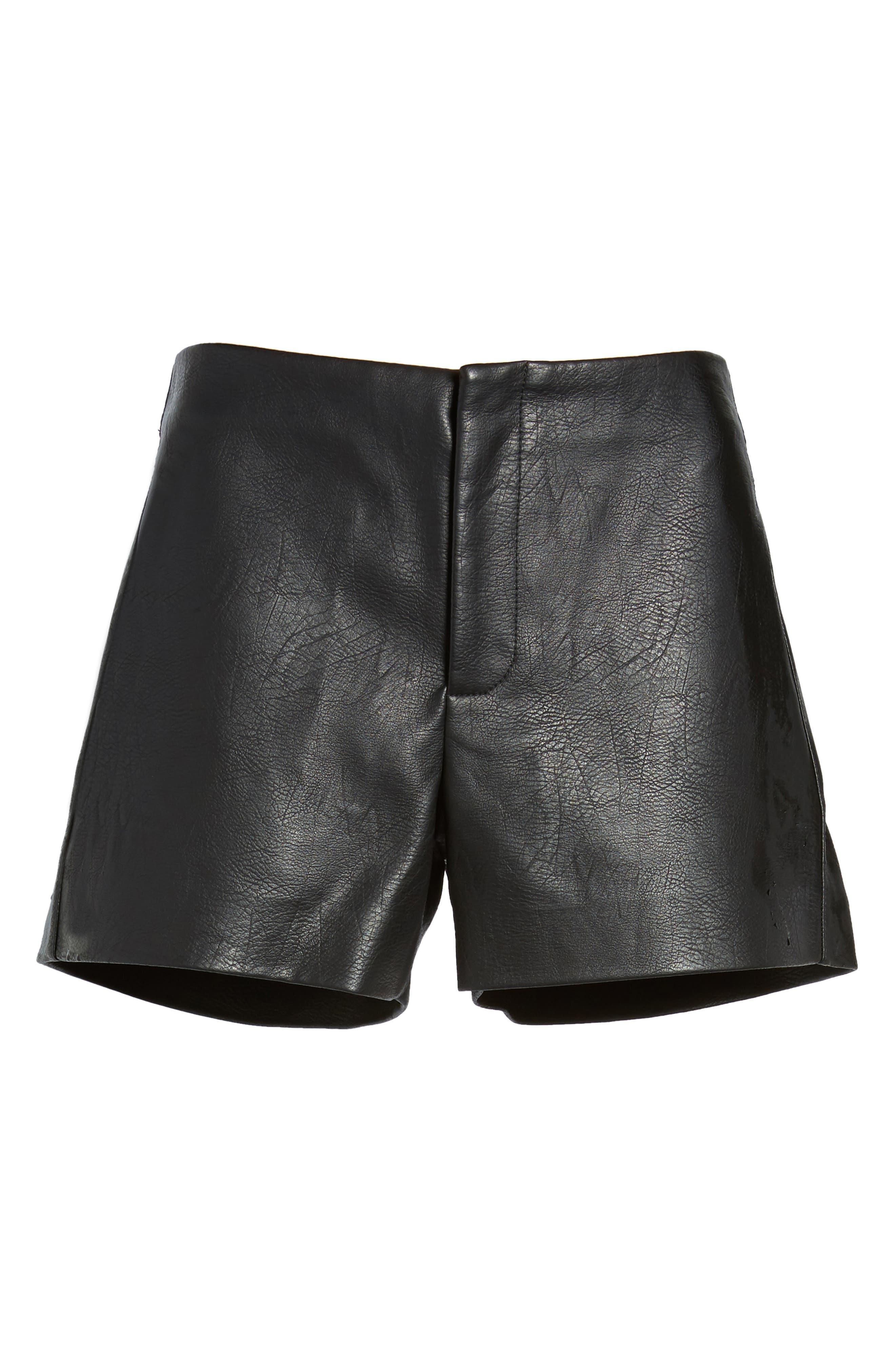 Faux Leather Shorts,                             Alternate thumbnail 6, color,                             001