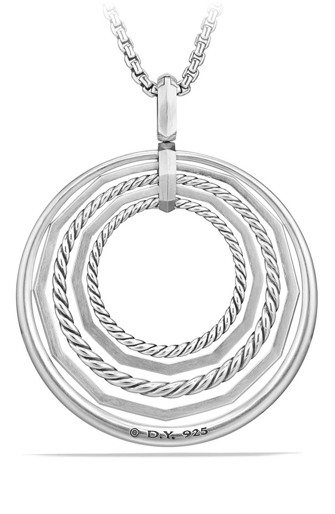 Stax Large Pendant Necklace with Diamonds,                             Alternate thumbnail 3, color,                             SILVER