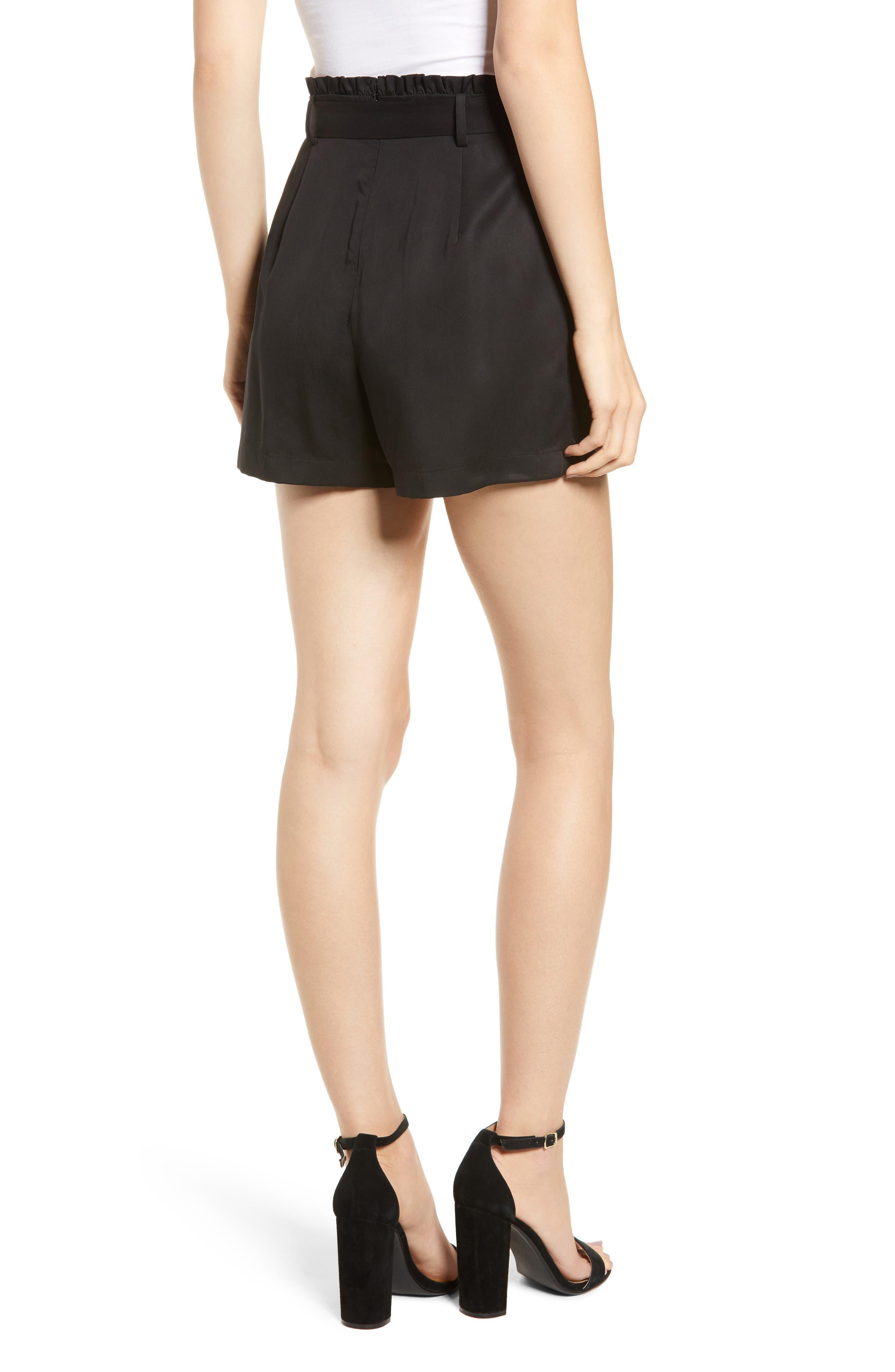 D-Ring Belted Shorts,                             Alternate thumbnail 2, color,                             BLACK