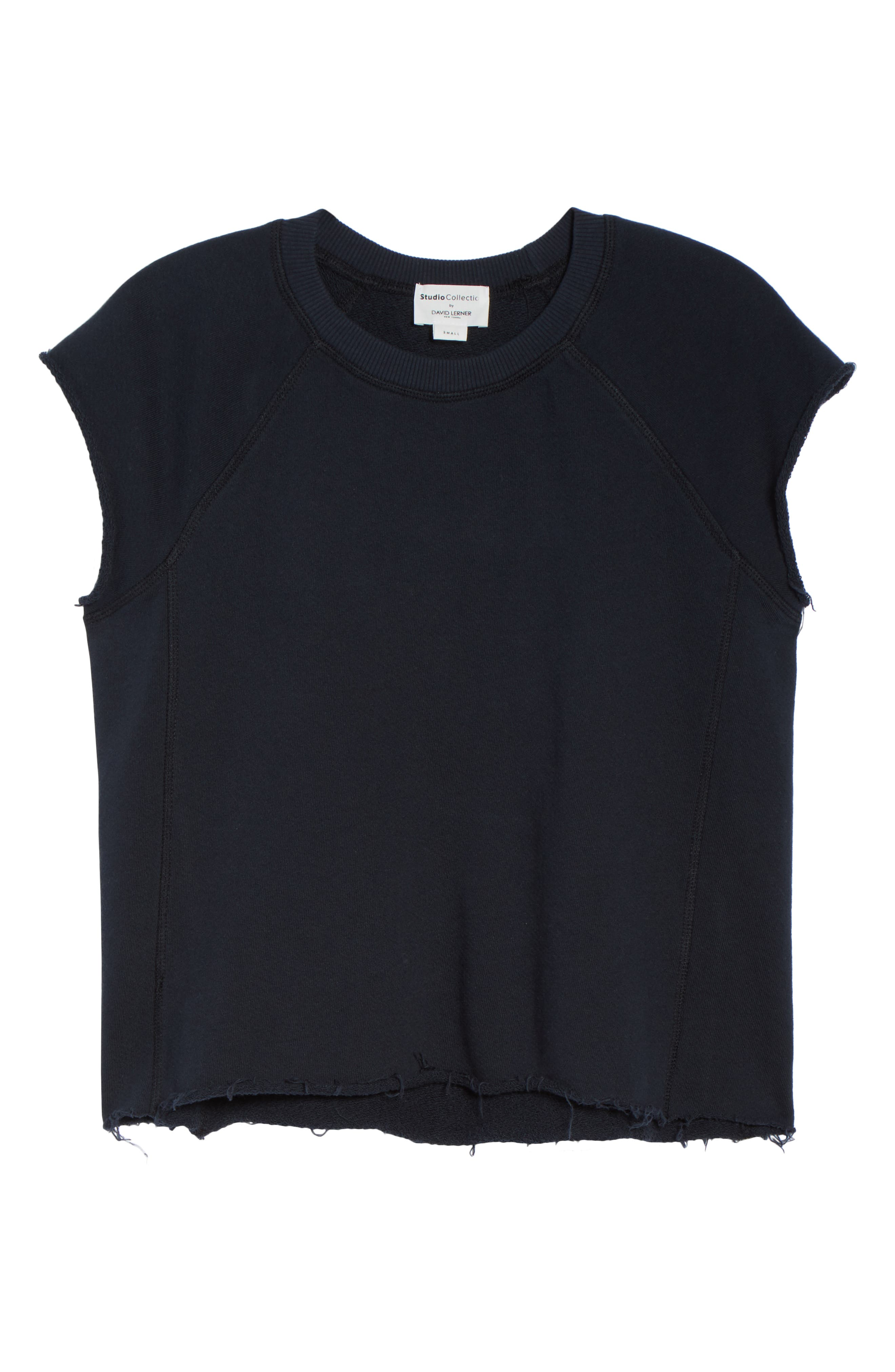Sleeveless Raw Hem Crop Top,                             Alternate thumbnail 6, color,                             DARK NAVY