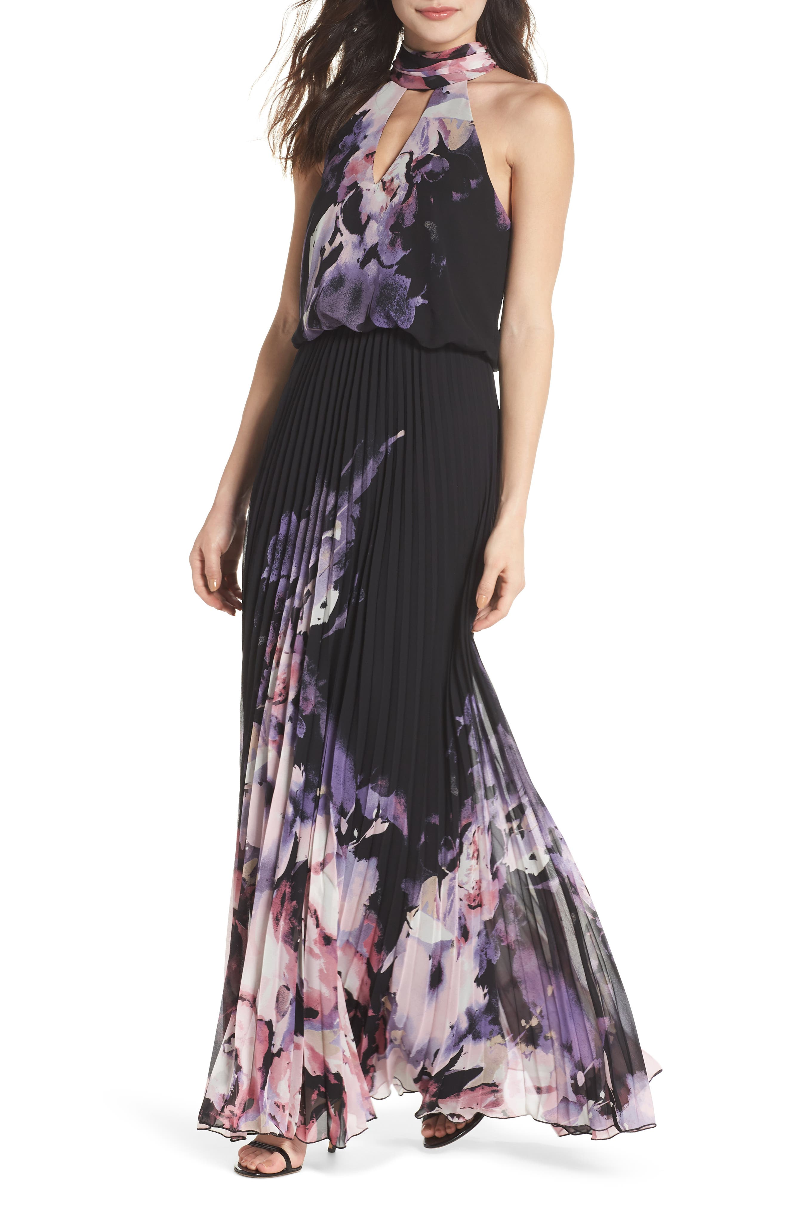Pleated Halter Neck Chiffon Gown,                         Main,                         color, BLACK/ PINK