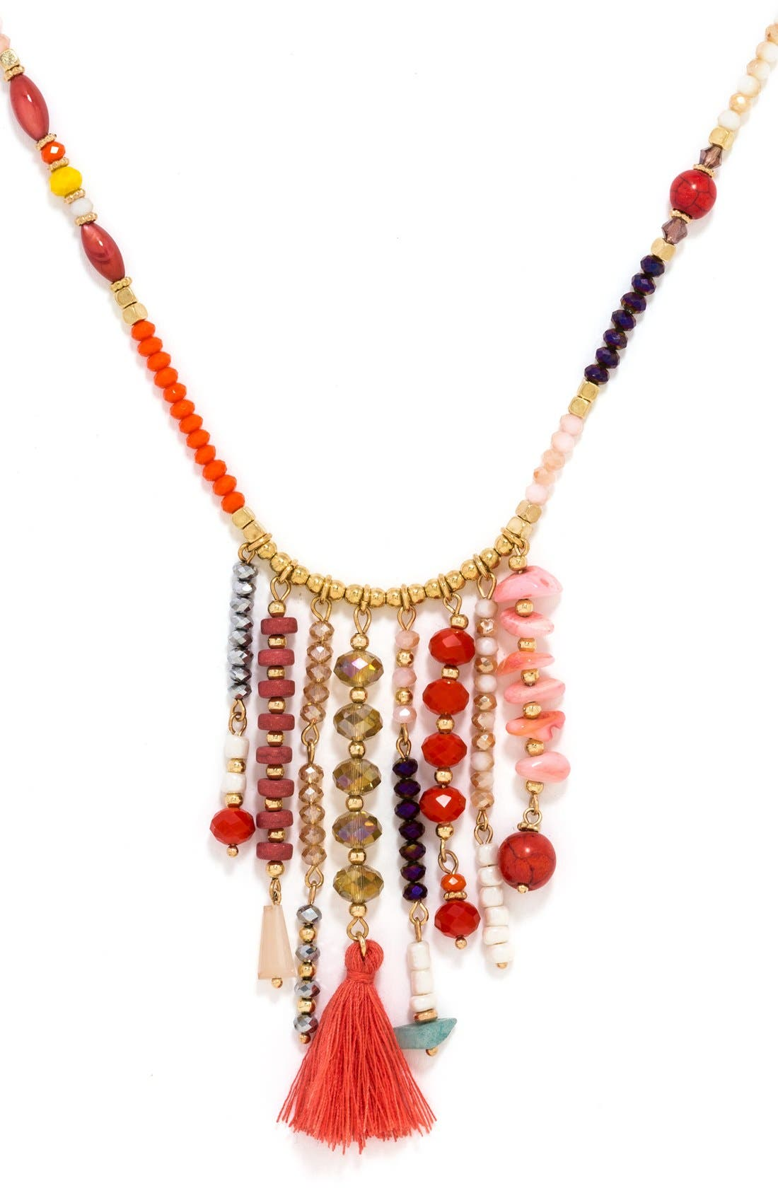 'Congo' Beaded Tassel Necklace,                             Alternate thumbnail 4, color,