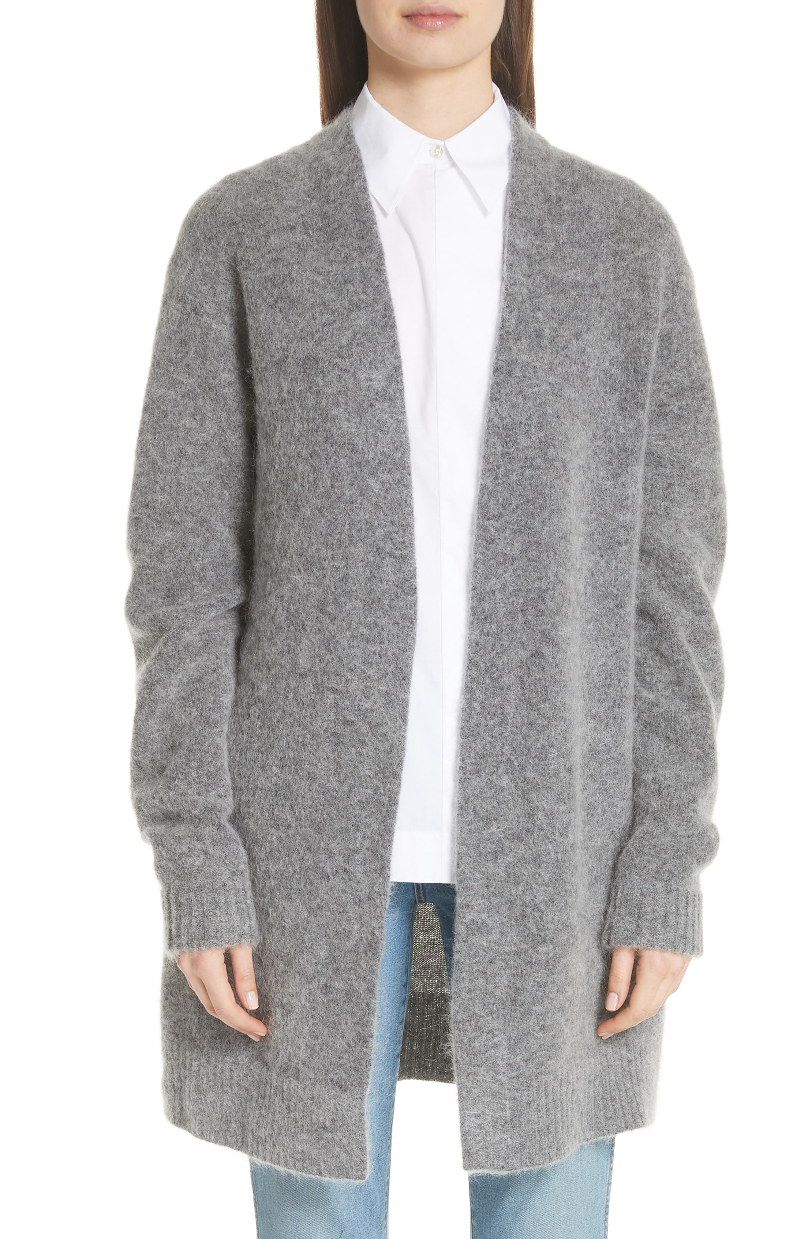 Raya Wool & Mohair Blend Cardigan in Grey Melange