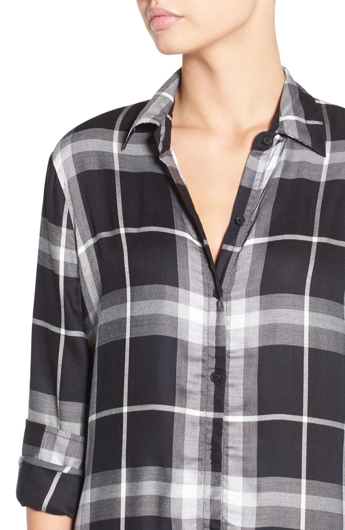 'Coley' Plaid Maxi Shirtdress,                             Alternate thumbnail 4, color,                             001