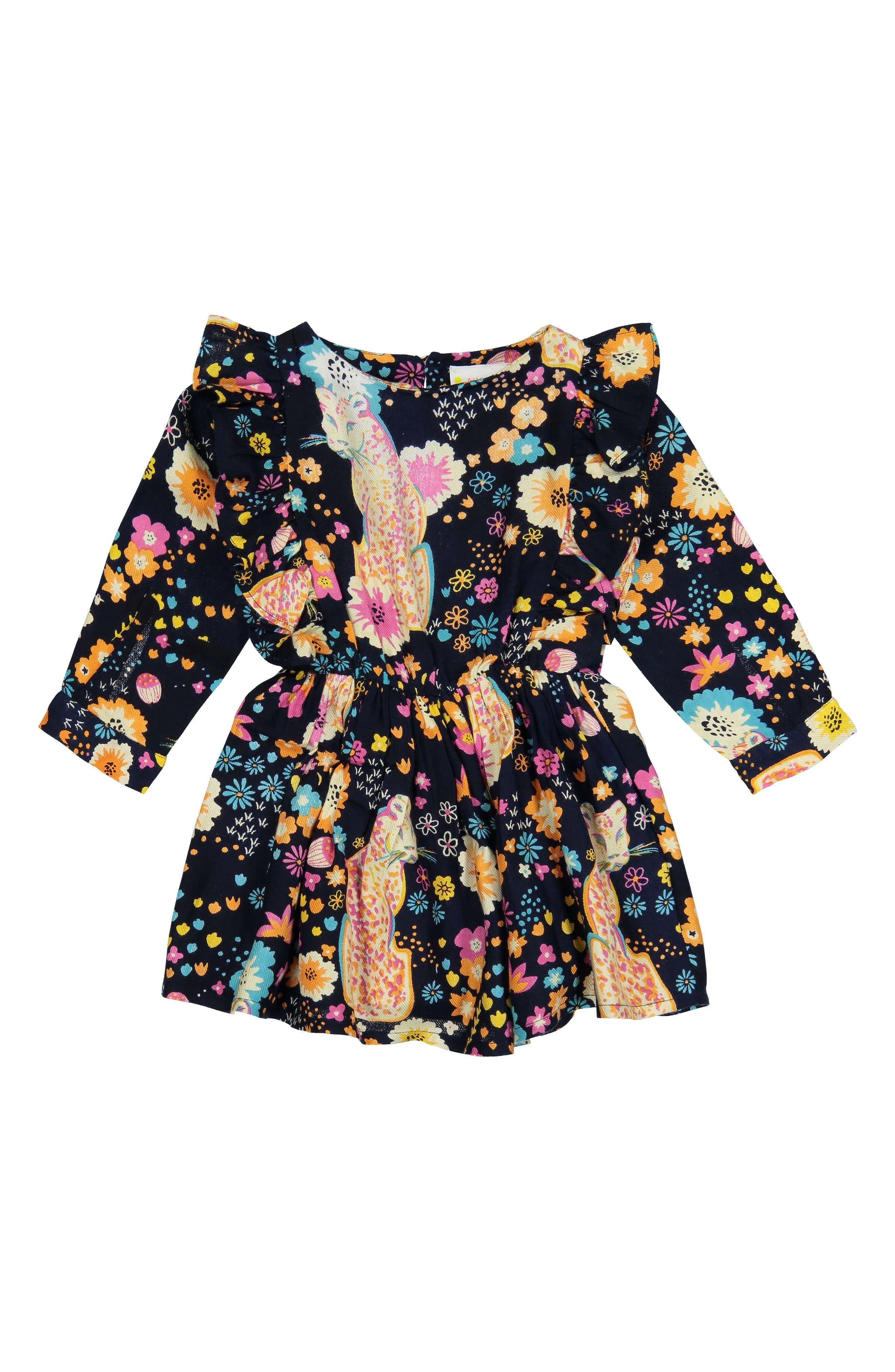 Fantasia Cheetah Dress,                         Main,                         color, NAVY