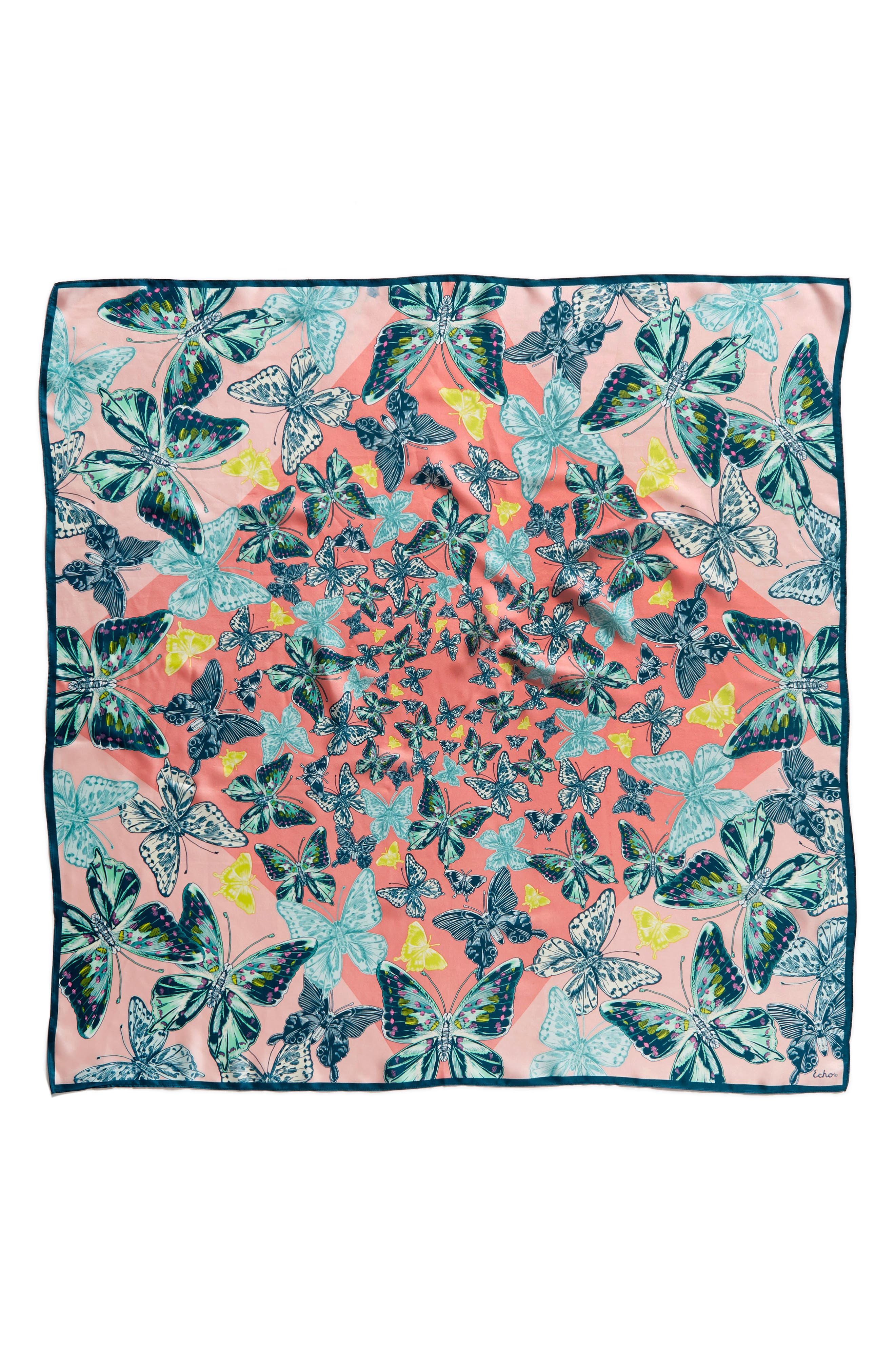 Butterfly Silk Scarf,                             Alternate thumbnail 6, color,