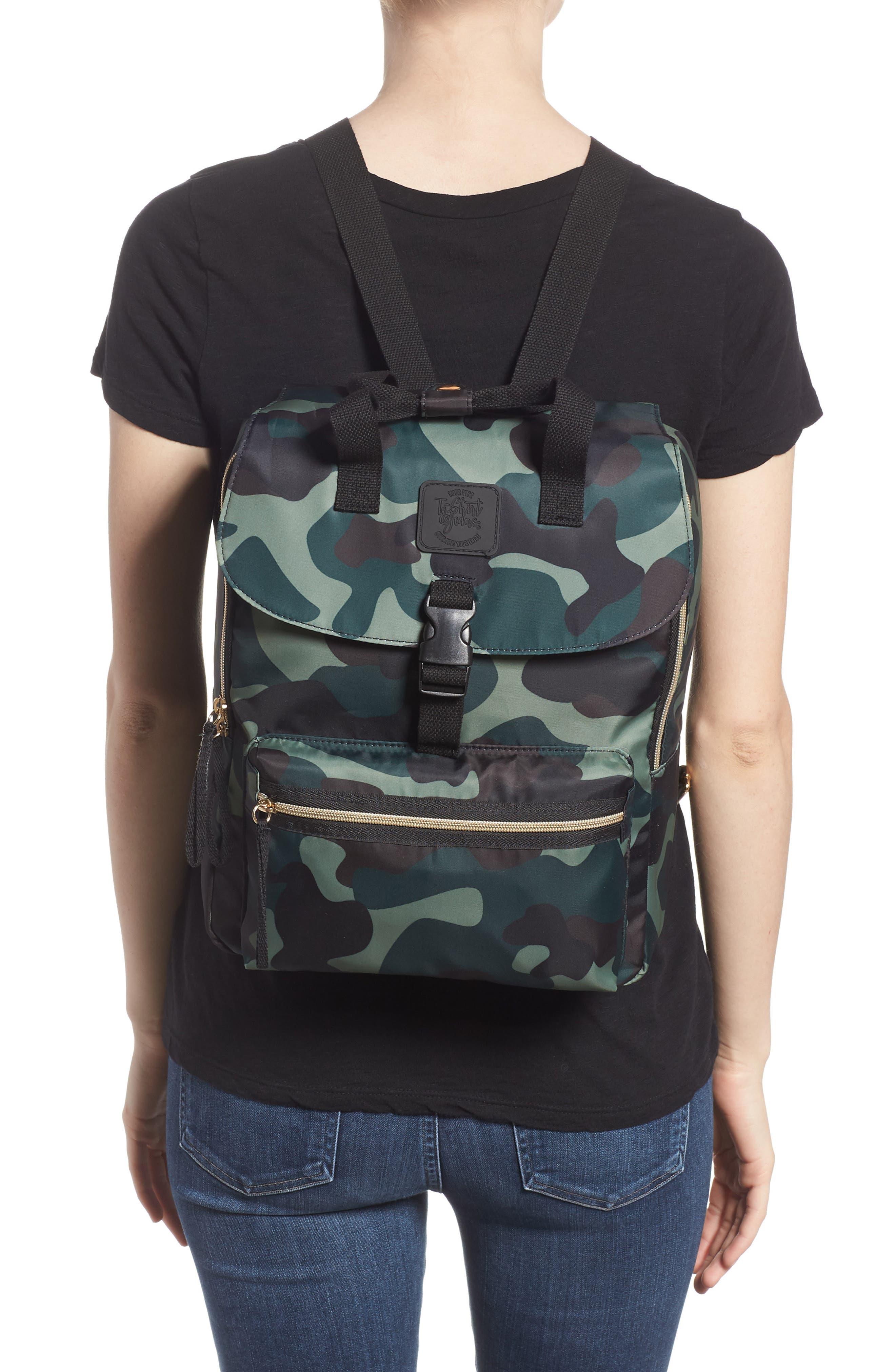 Camouflage Nylon Backpack,                             Alternate thumbnail 2, color,