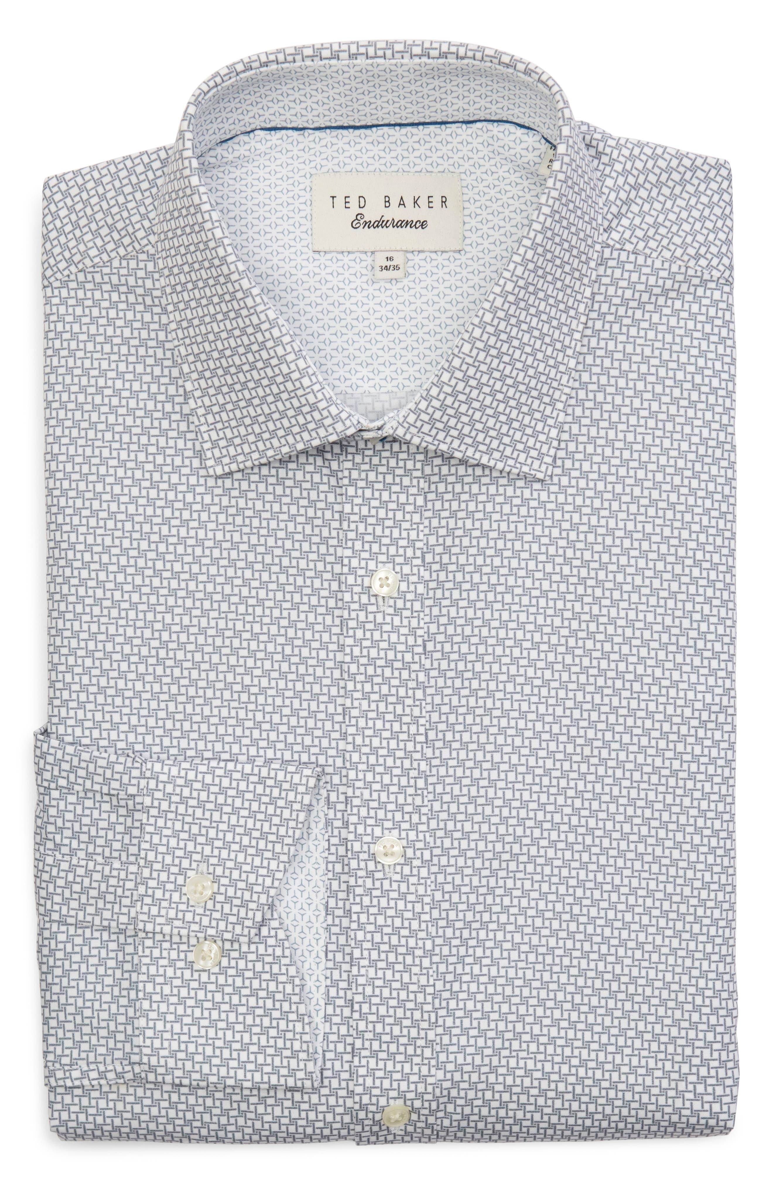 Rosprim Trim Fit Geometric Dress Shirt,                             Alternate thumbnail 5, color,                             GREY