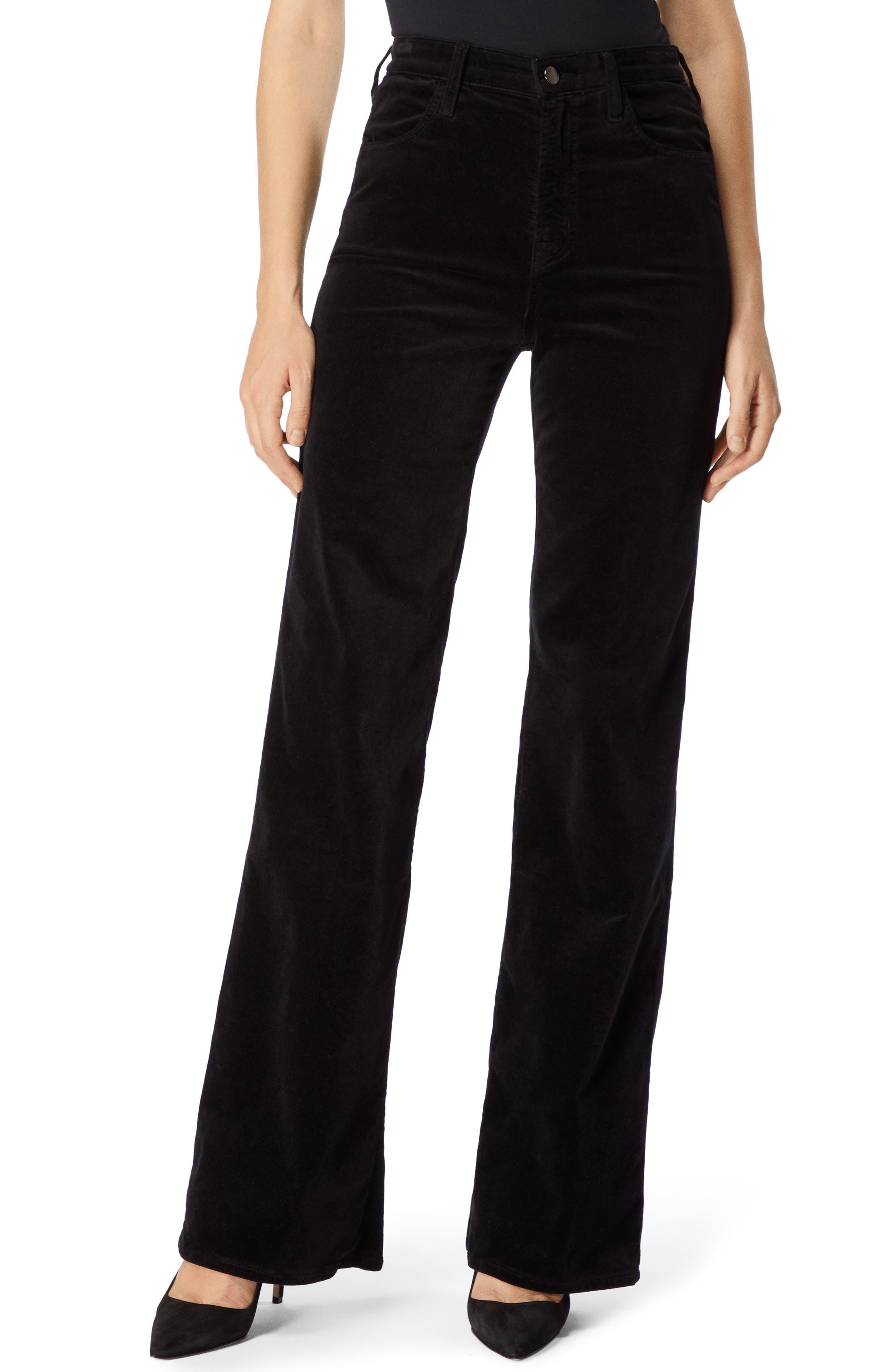 Joan High Rise Wide-Leg Velvet Jeans In Black