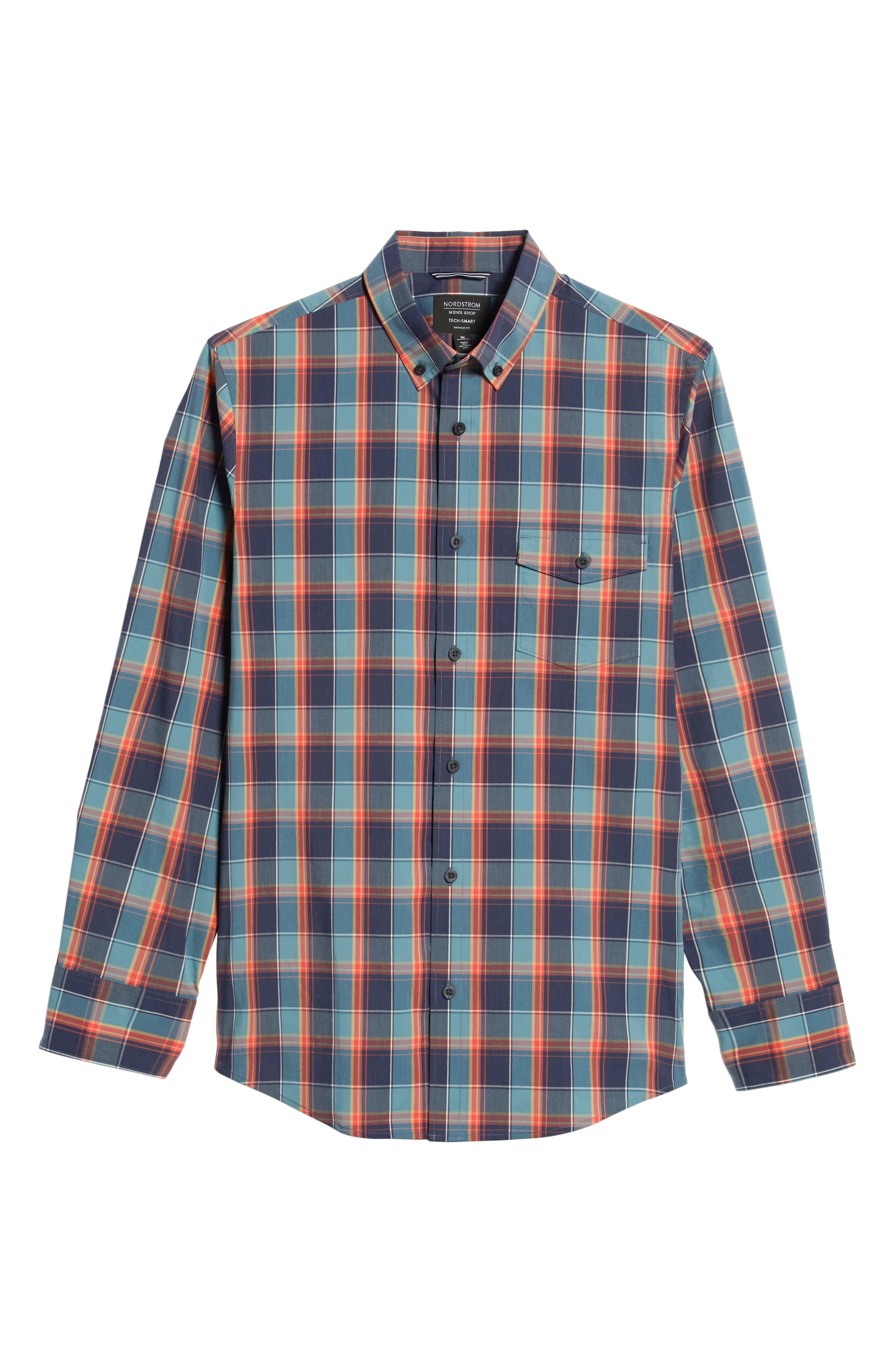 Tech-Smart Regular Fit Plaid Sport Shirt,                             Alternate thumbnail 5, color,                             NAVY CORAL PLAID