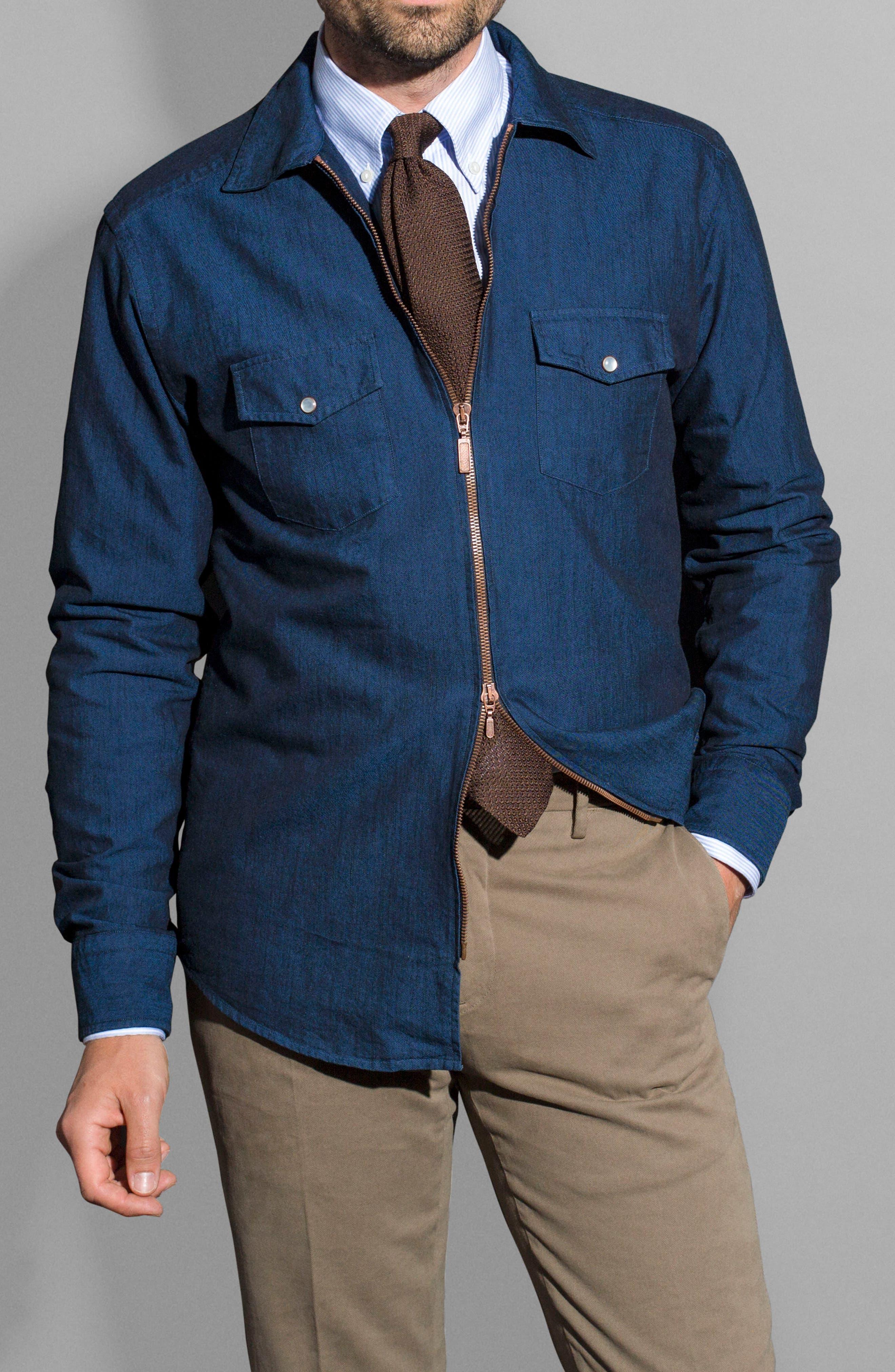Slim Fit Chambray Zip Sport Shirt Jacket,                             Alternate thumbnail 8, color,                             400