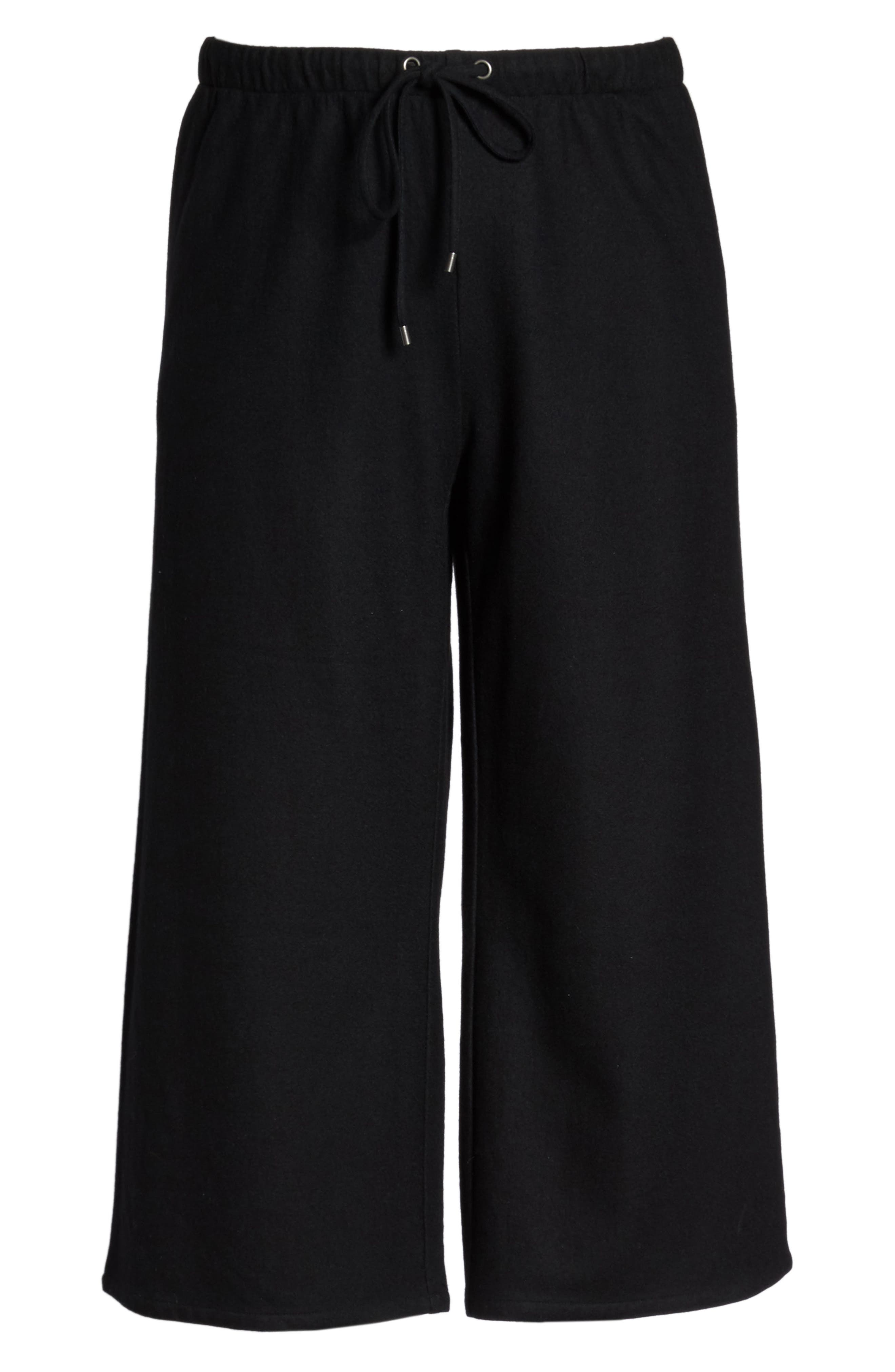 Wide Leg Drawstring Wool Pants,                             Alternate thumbnail 6, color,                             001