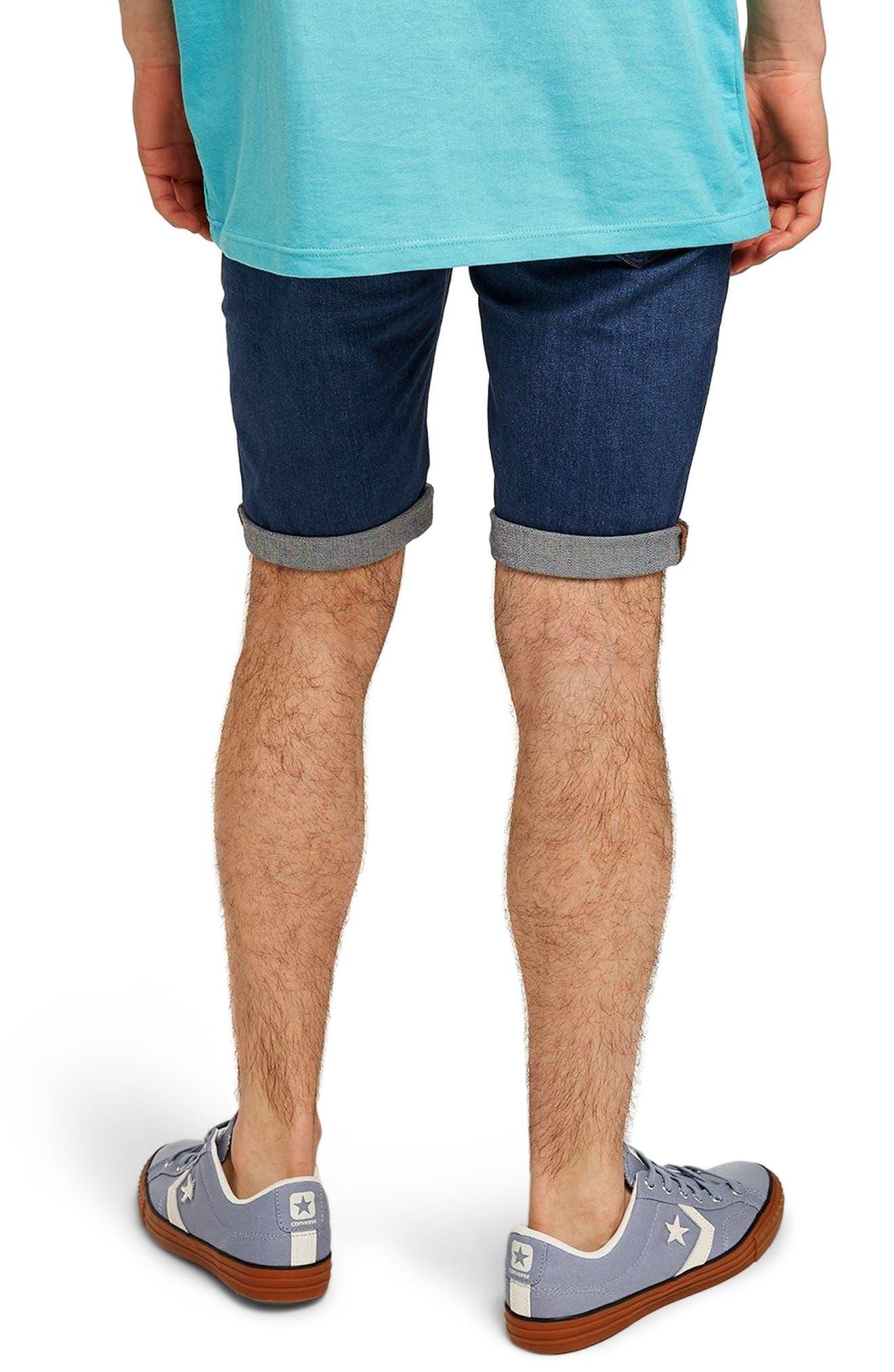 Skinny Fit Denim Shorts,                             Alternate thumbnail 2, color,                             BLUE