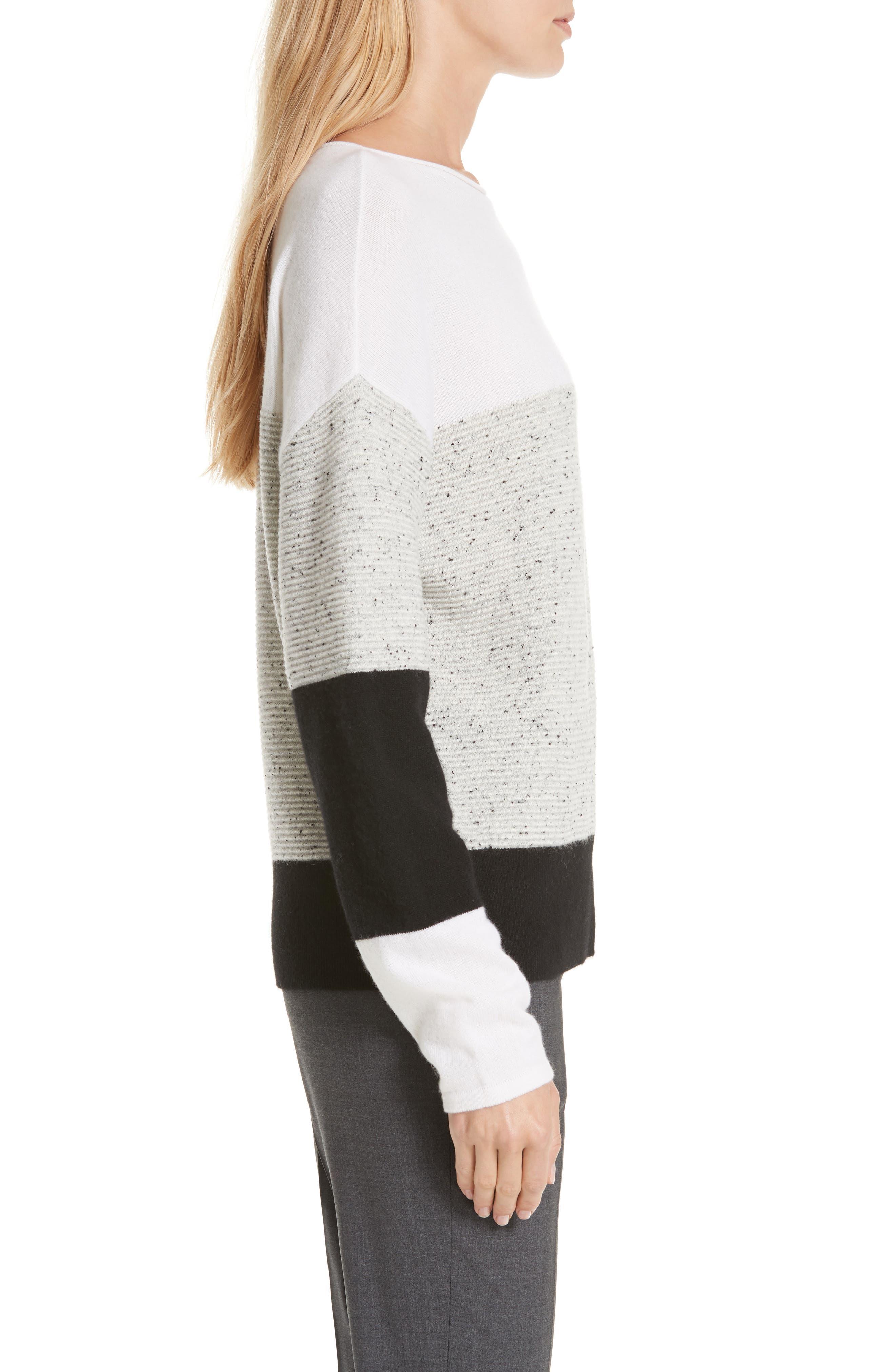Colorblock Cashmere Sweater,                             Alternate thumbnail 3, color,                             IVORY SOFT MULTI COLOR BLOCK