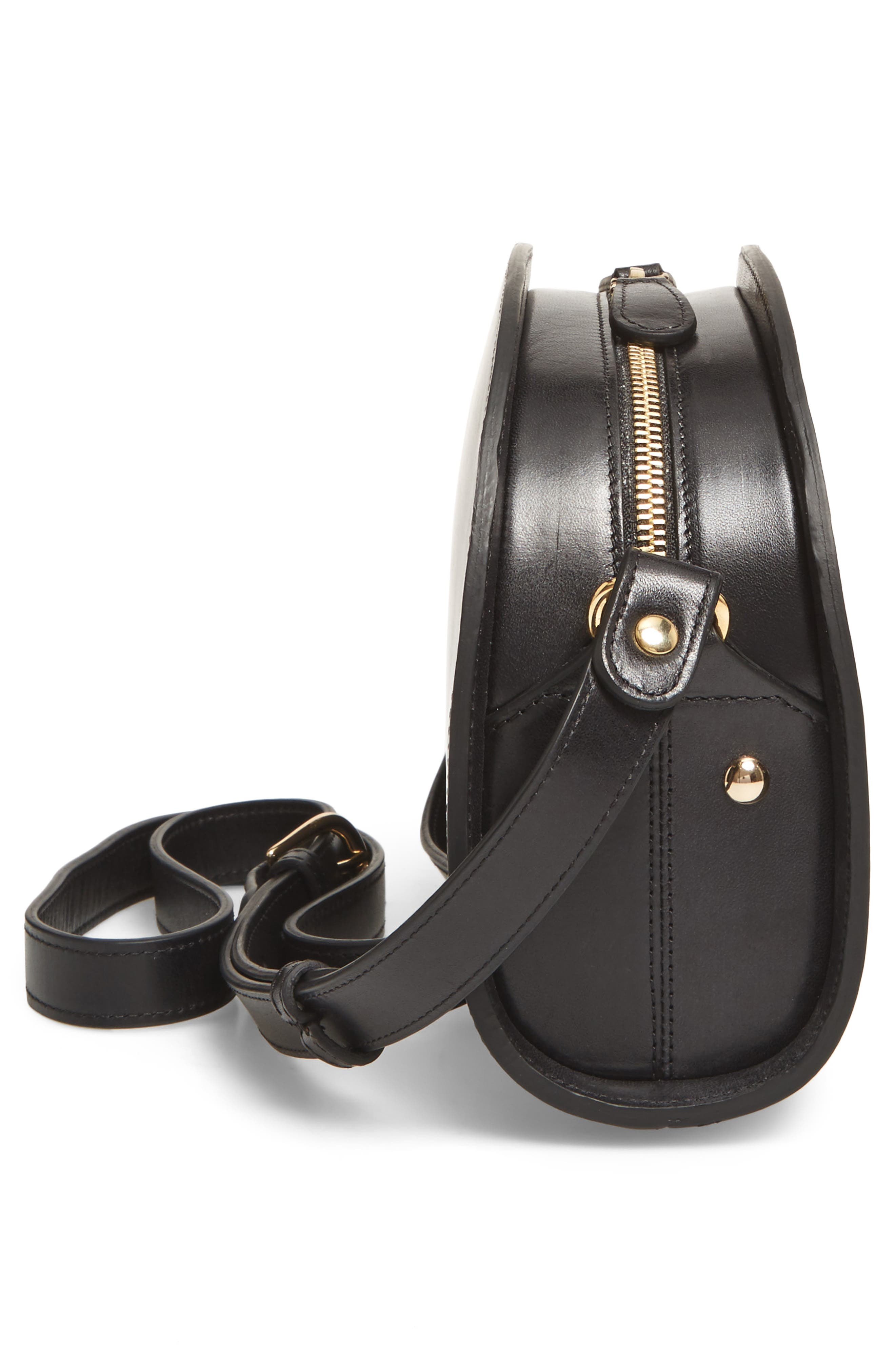 Sac Demi Lune Leather Crossbody Bag,                             Alternate thumbnail 5, color,                             001
