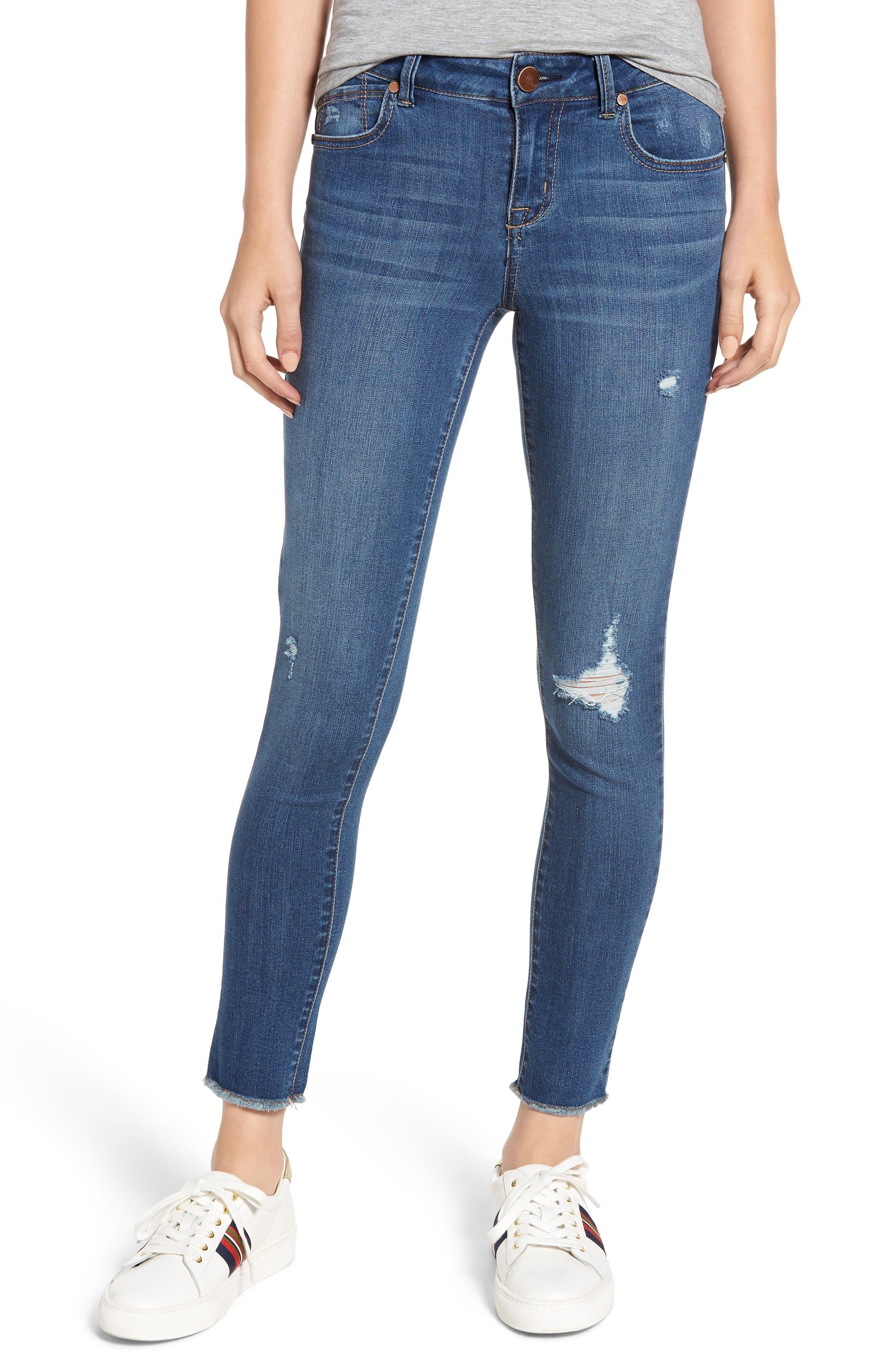 1822 DENIM,                             Distressed Skinny Jeans,                             Main thumbnail 1, color,                             CHRISTINA