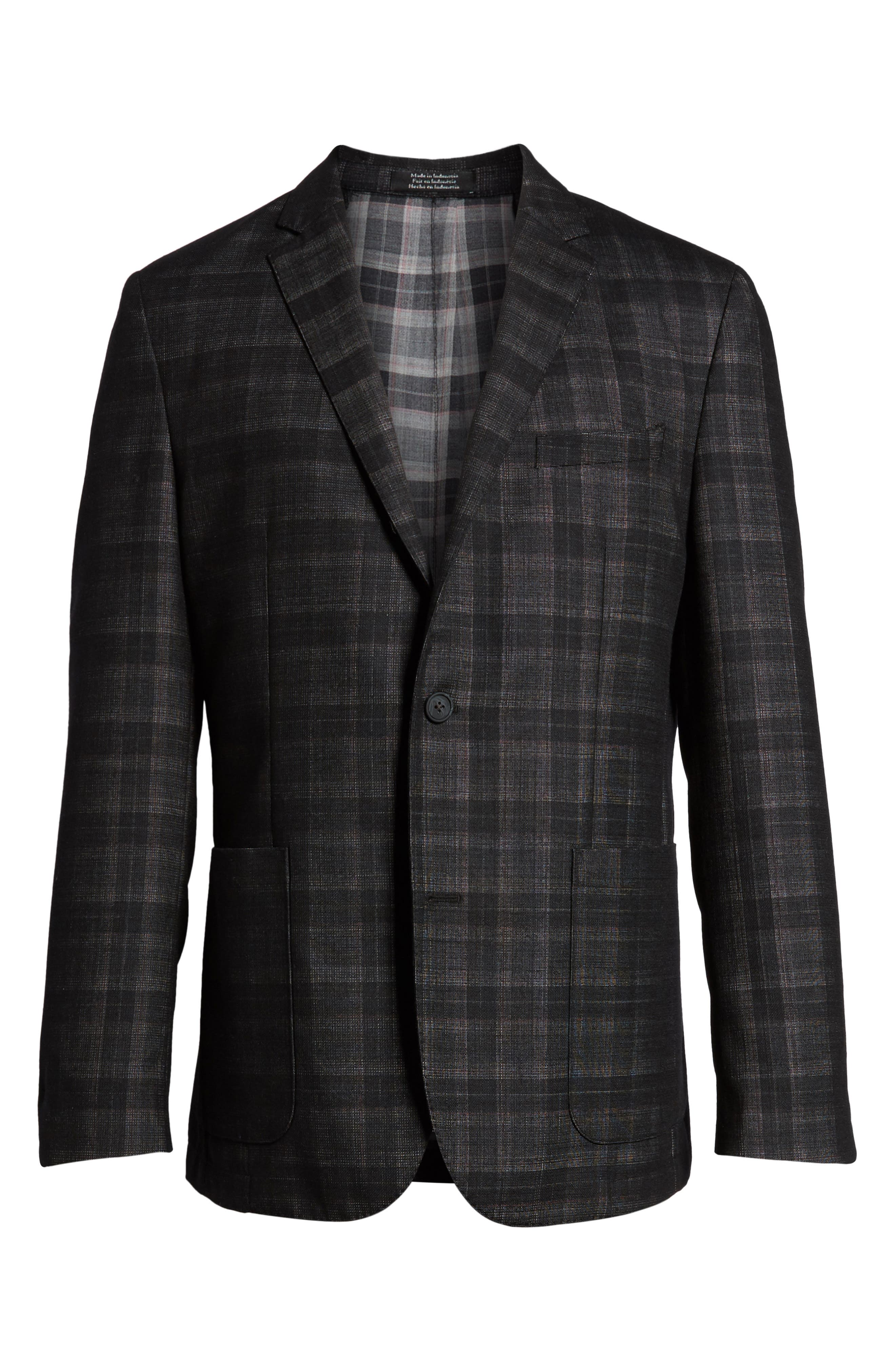 Delaria Plaid Wool Blend Jacket,                             Alternate thumbnail 5, color,                             001