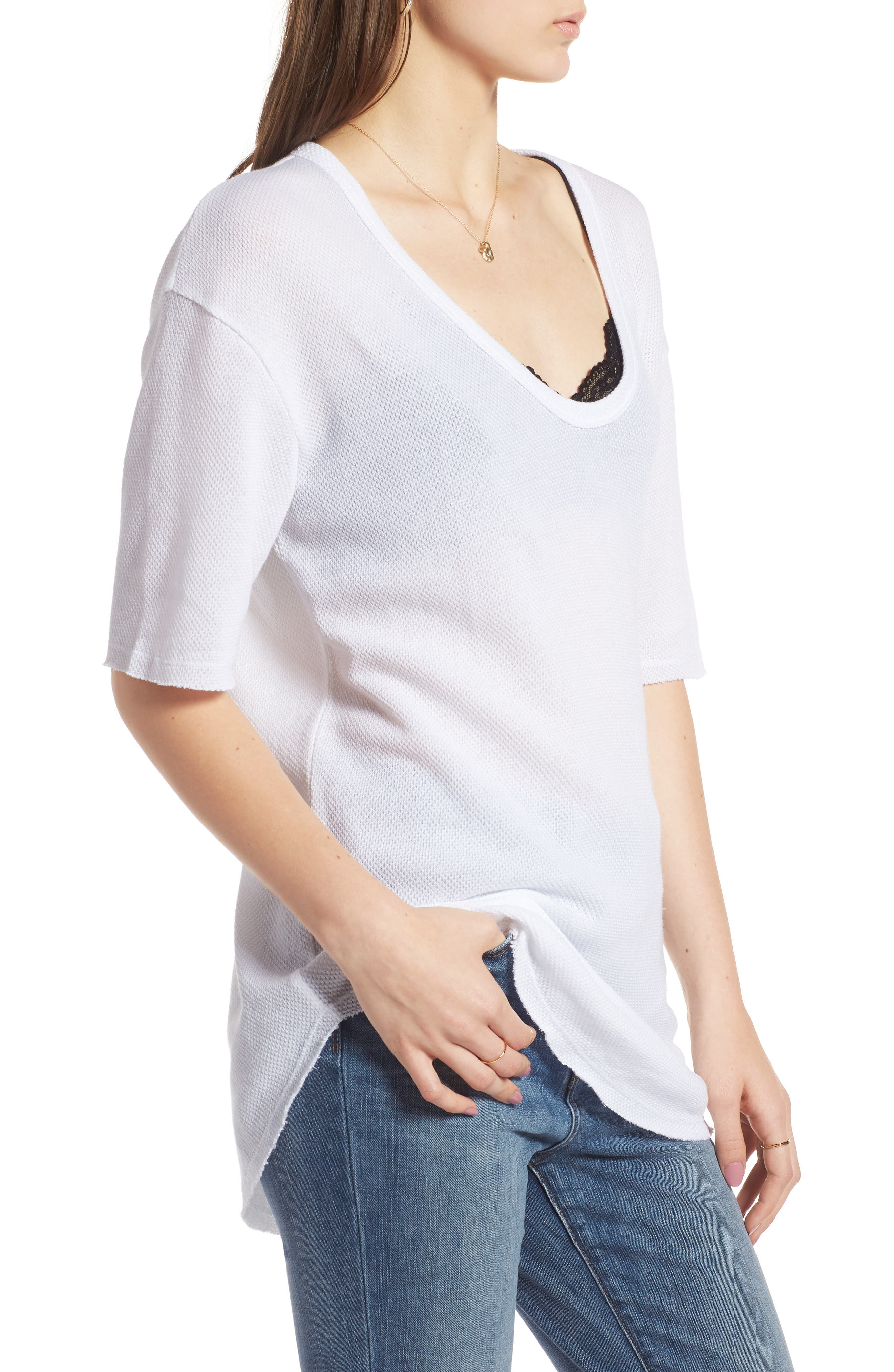 Scoop Neck Tee,                             Alternate thumbnail 3, color,