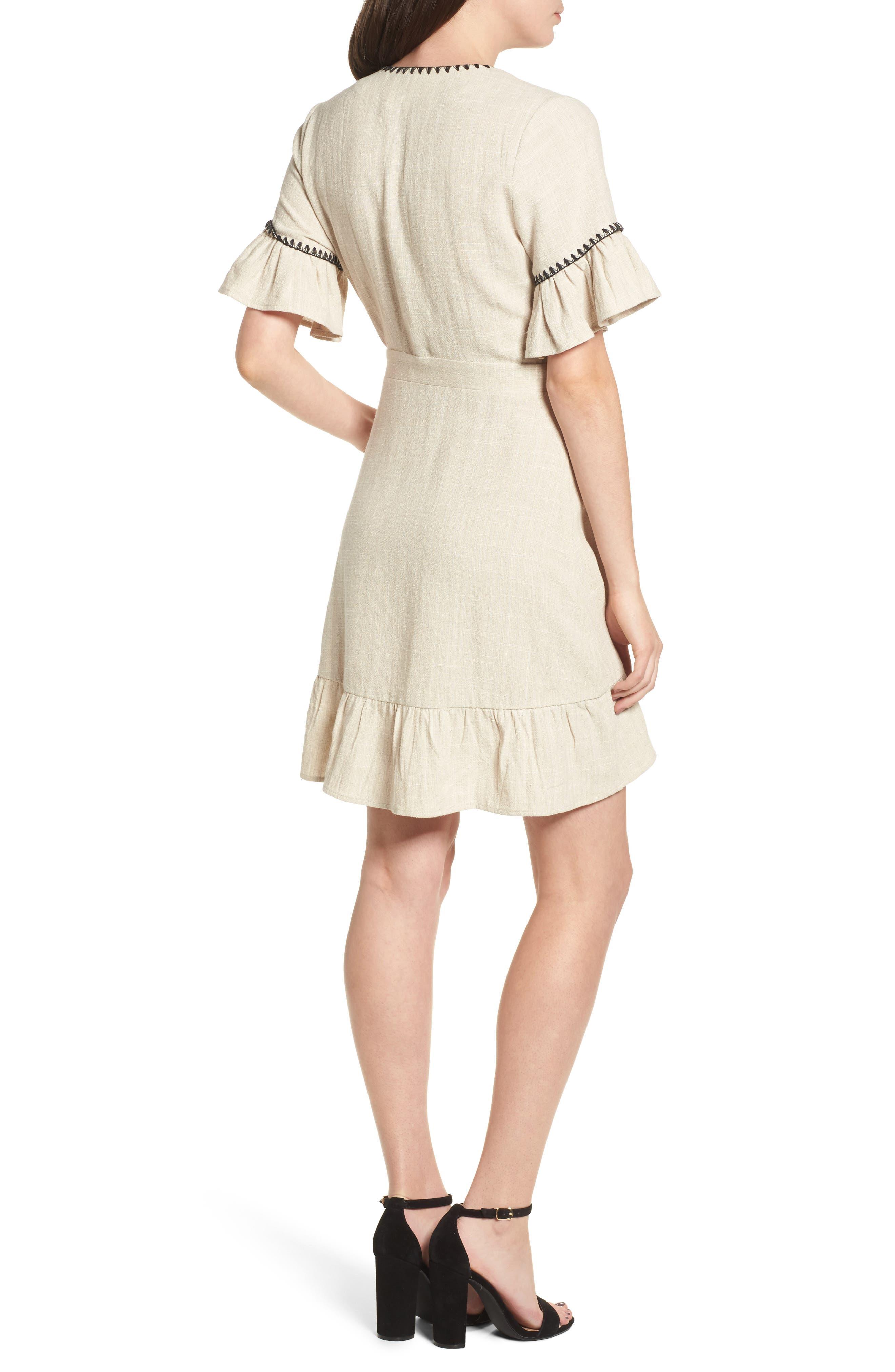 Blanket Stitch Wrap Dress,                             Alternate thumbnail 4, color,