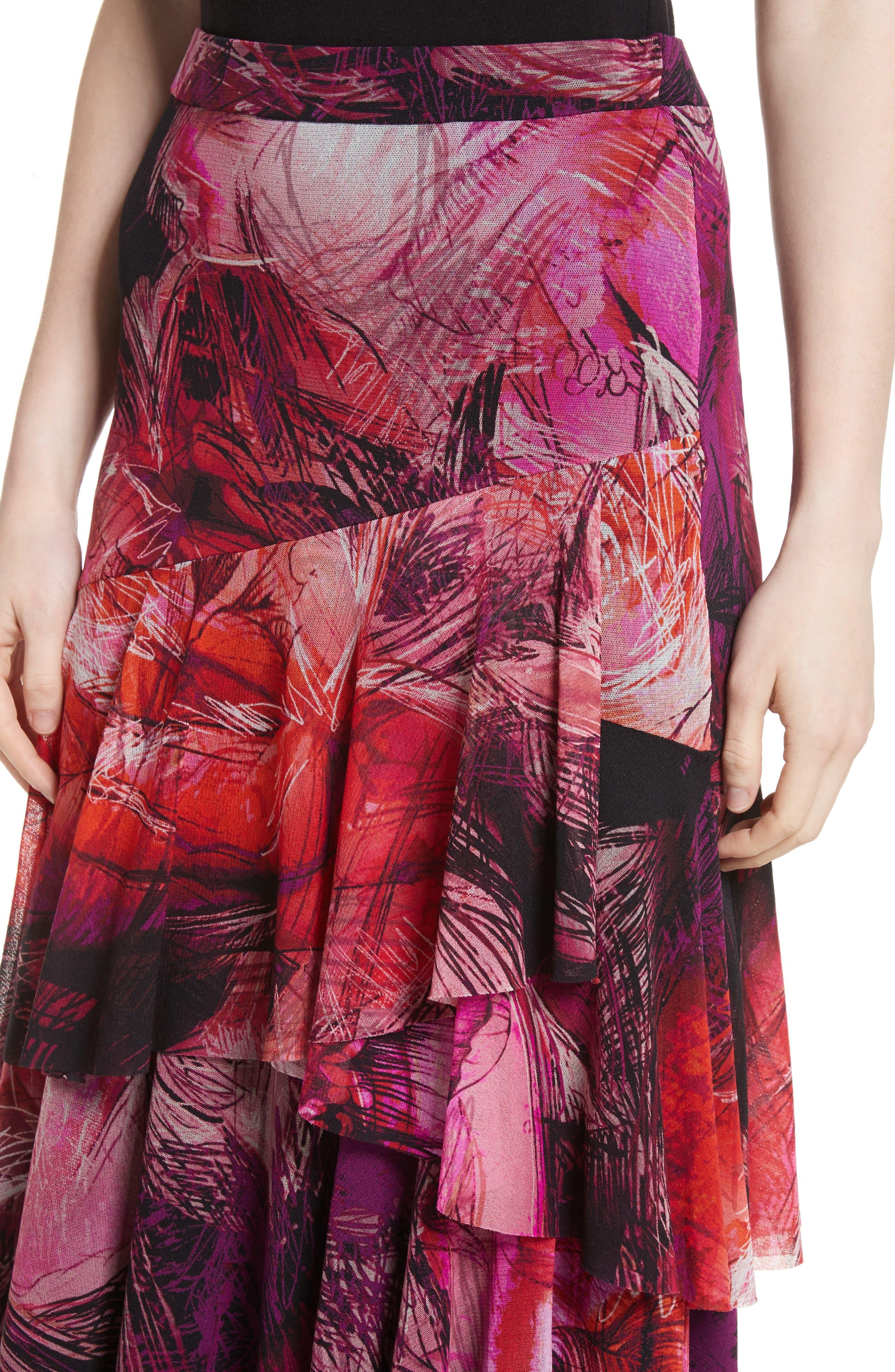 Print Tulle Ruffle Skirt,                             Alternate thumbnail 4, color,                             650