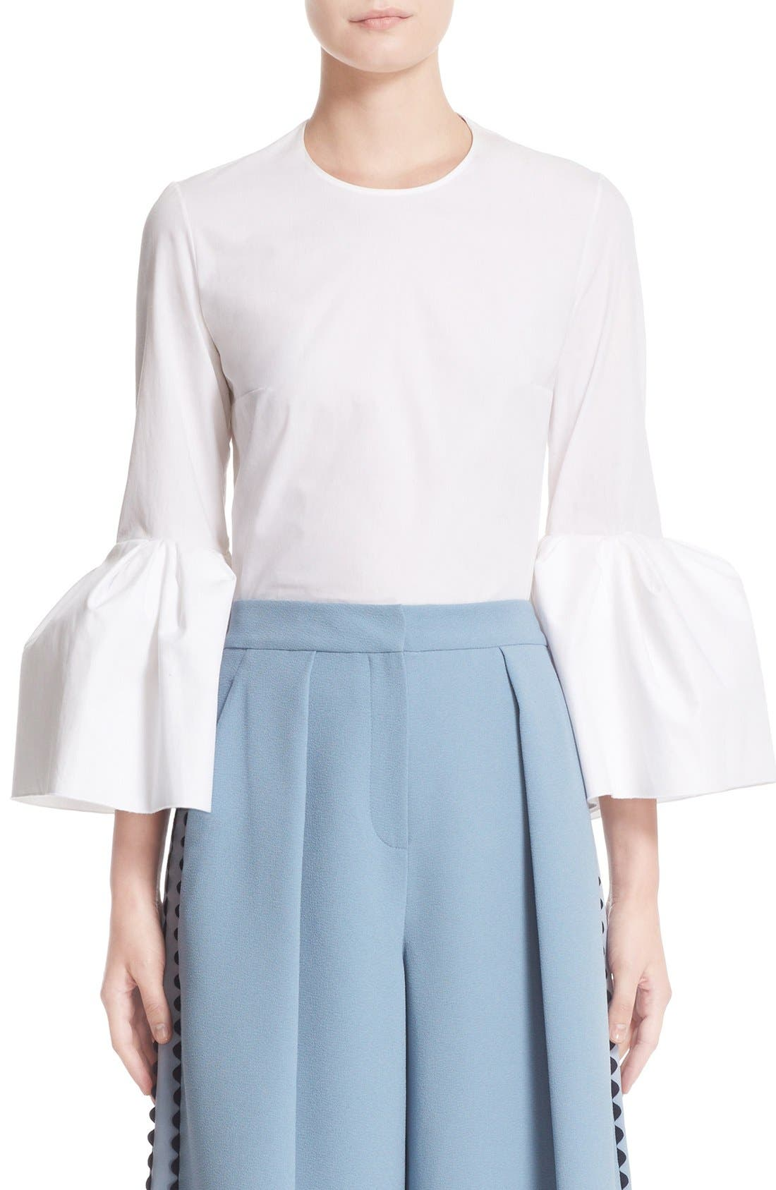 Truffaut Bell Sleeve Top,                             Main thumbnail 1, color,                             WHITE