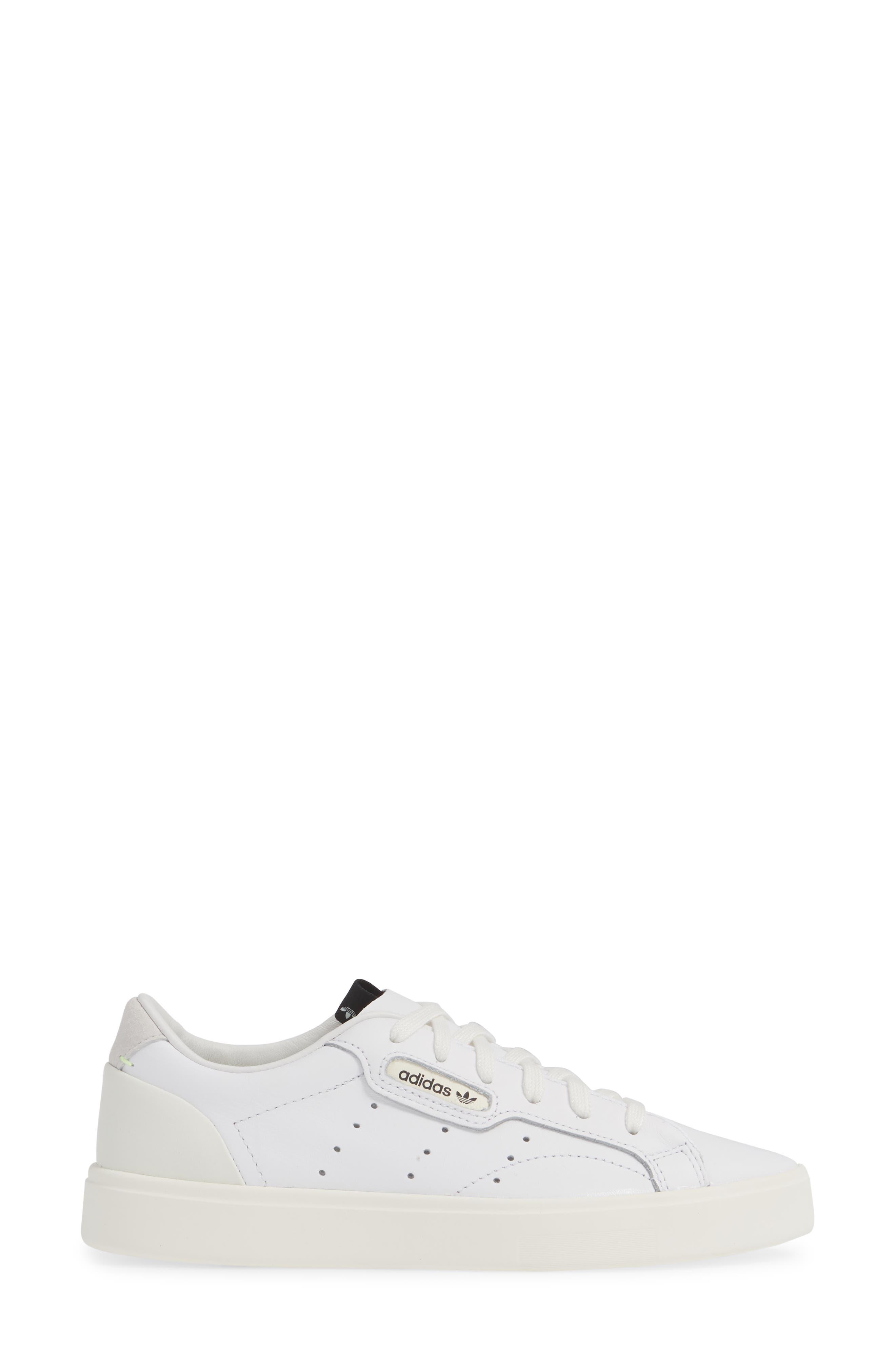 ADIDAS,                             Sleek Leather Sneaker,                             Alternate thumbnail 3, color,                             WHITE/ OFF WHITE/ CRYSTAL