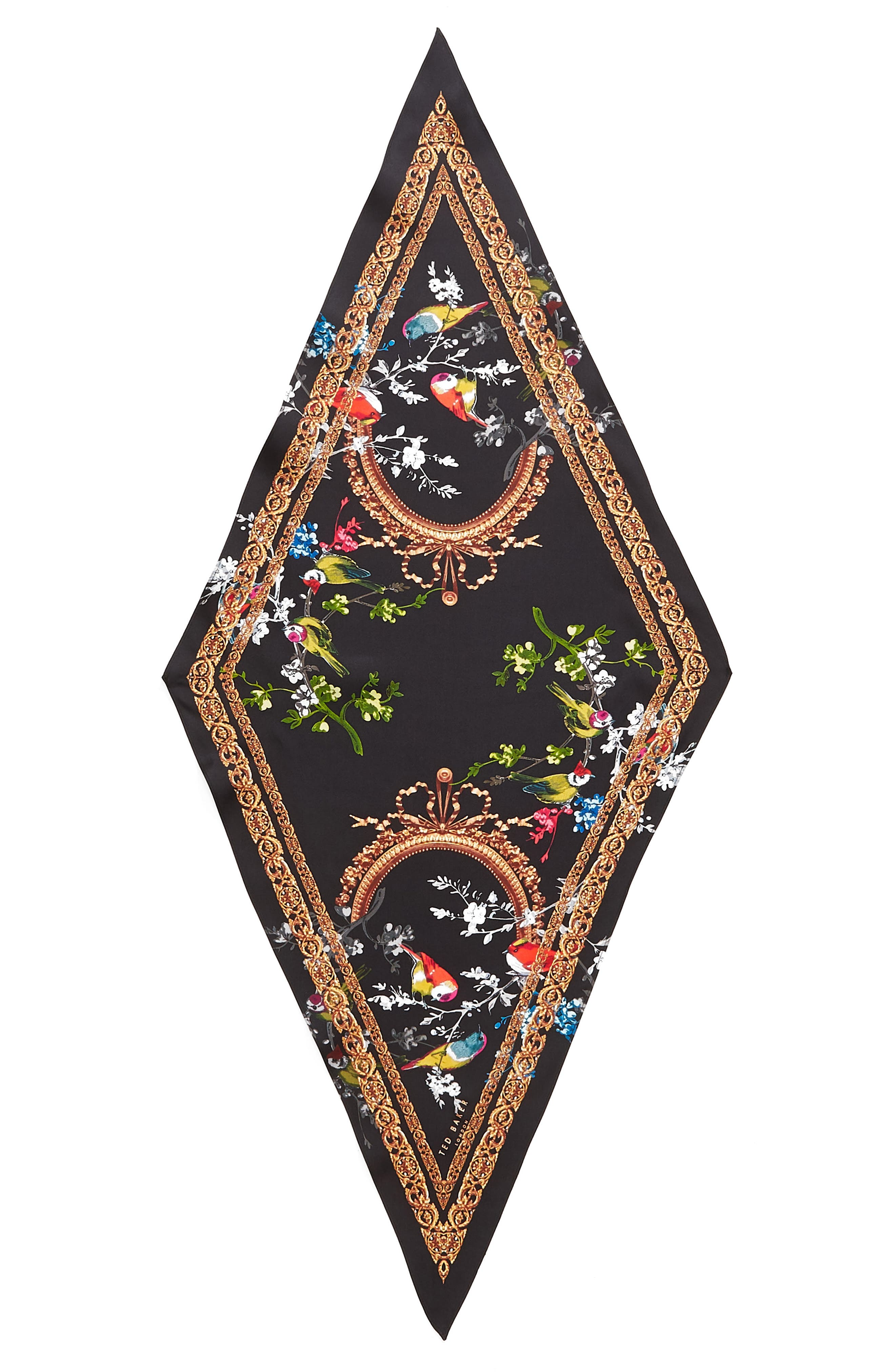 Opulent Fauna Kite Silk Scarf,                             Alternate thumbnail 3, color,                             BLACK